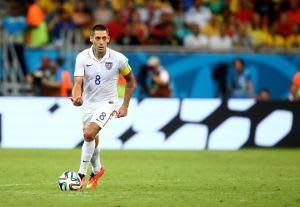 Jul 1, 2014; Salvador, BRAZIL; United States forward Clint Dempsey (8) against Belgium during the round of sixteen match in the 2014 World Cup at Arena Fonte Nova. Belgium defeated USA 2-1 in overtime. Mandatory Credit: Mark J. Rebilas-USA TODAY Sports