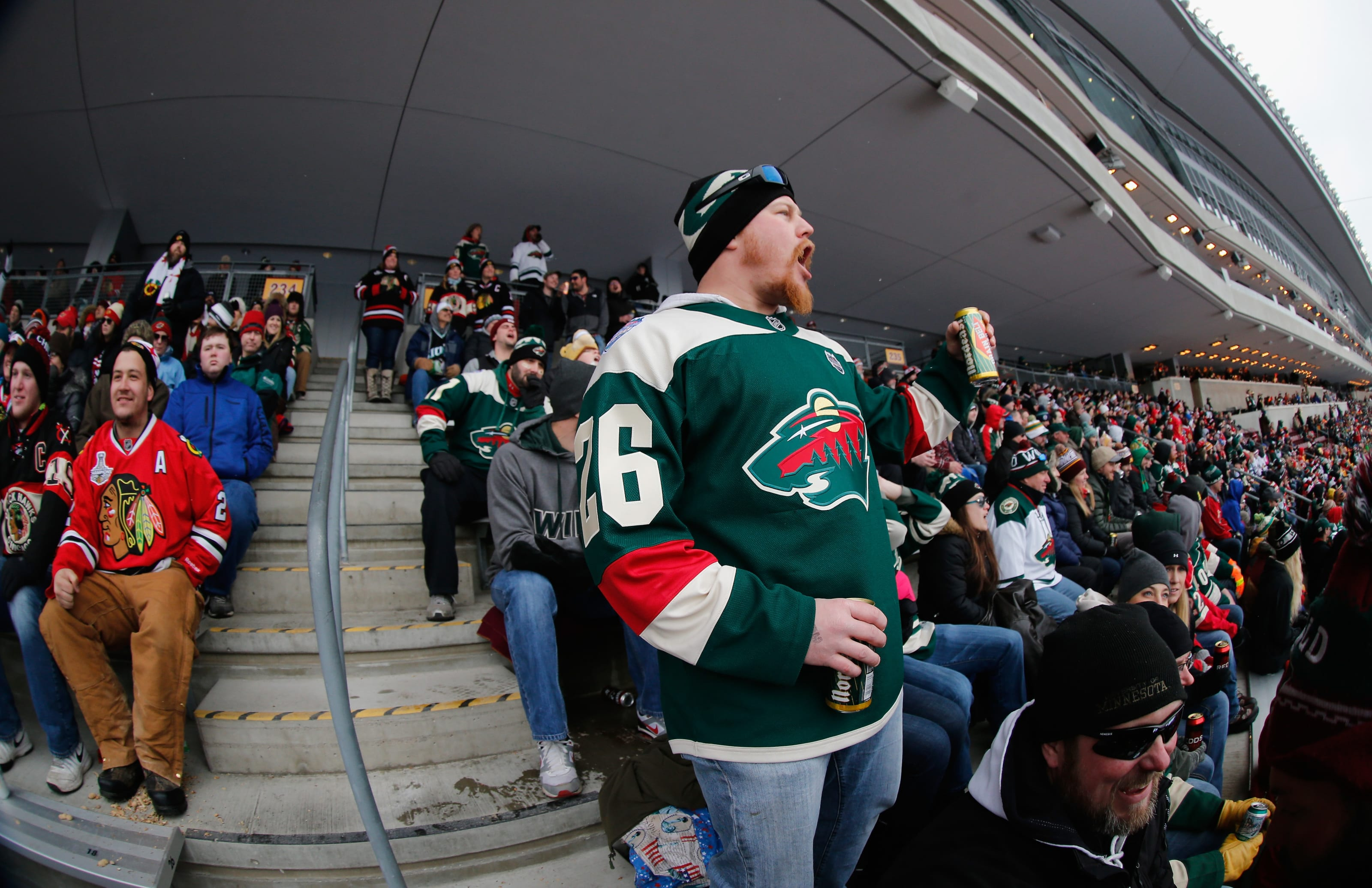 MINNEAPOLIS, MN - FEBRUARY 21: A Minnesota Wild fan yells while attending the 2016 Coors Light Stadium Series game between the Chicago Blackhawks and the Minnesota Wild at TCF Bank Stadium on February 21, 2016 in Minneapolis, Minnesota. (Photo by Eliot J. Schechter/NHLI via Getty Images)