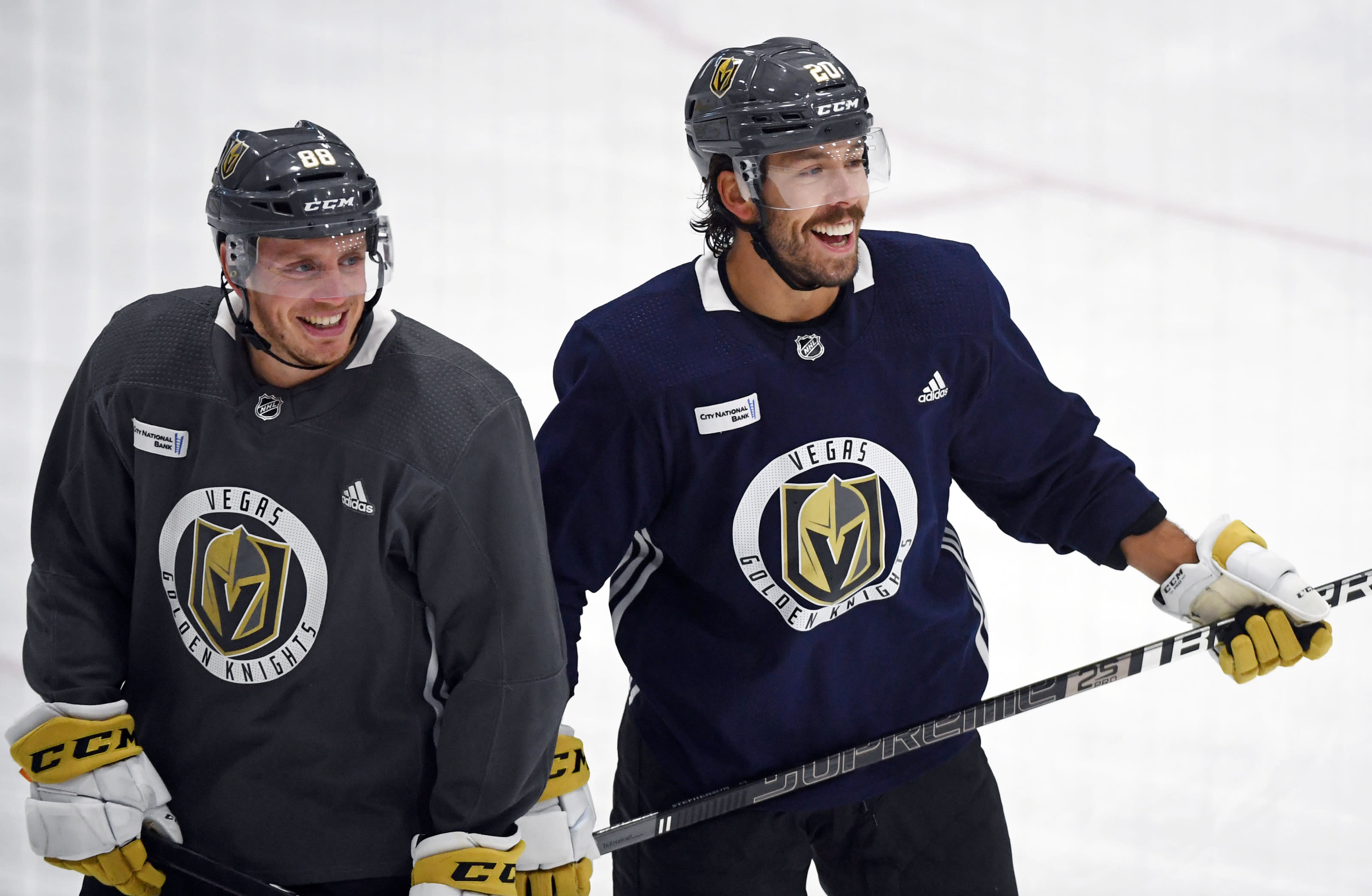 Nate Schmidt #88 and Chandler Stephenson #20 of the Vegas Golden Knights