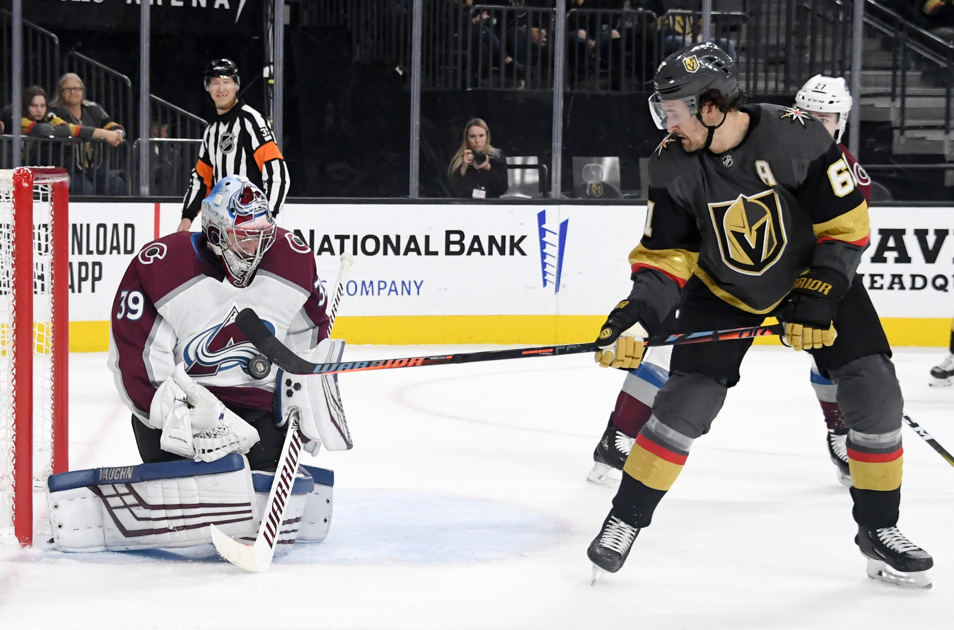 Pavel Francouz #39 of the Colorado Avalanche blocks a shot by Mark Stone #61 of the Vegas Golden Knights.