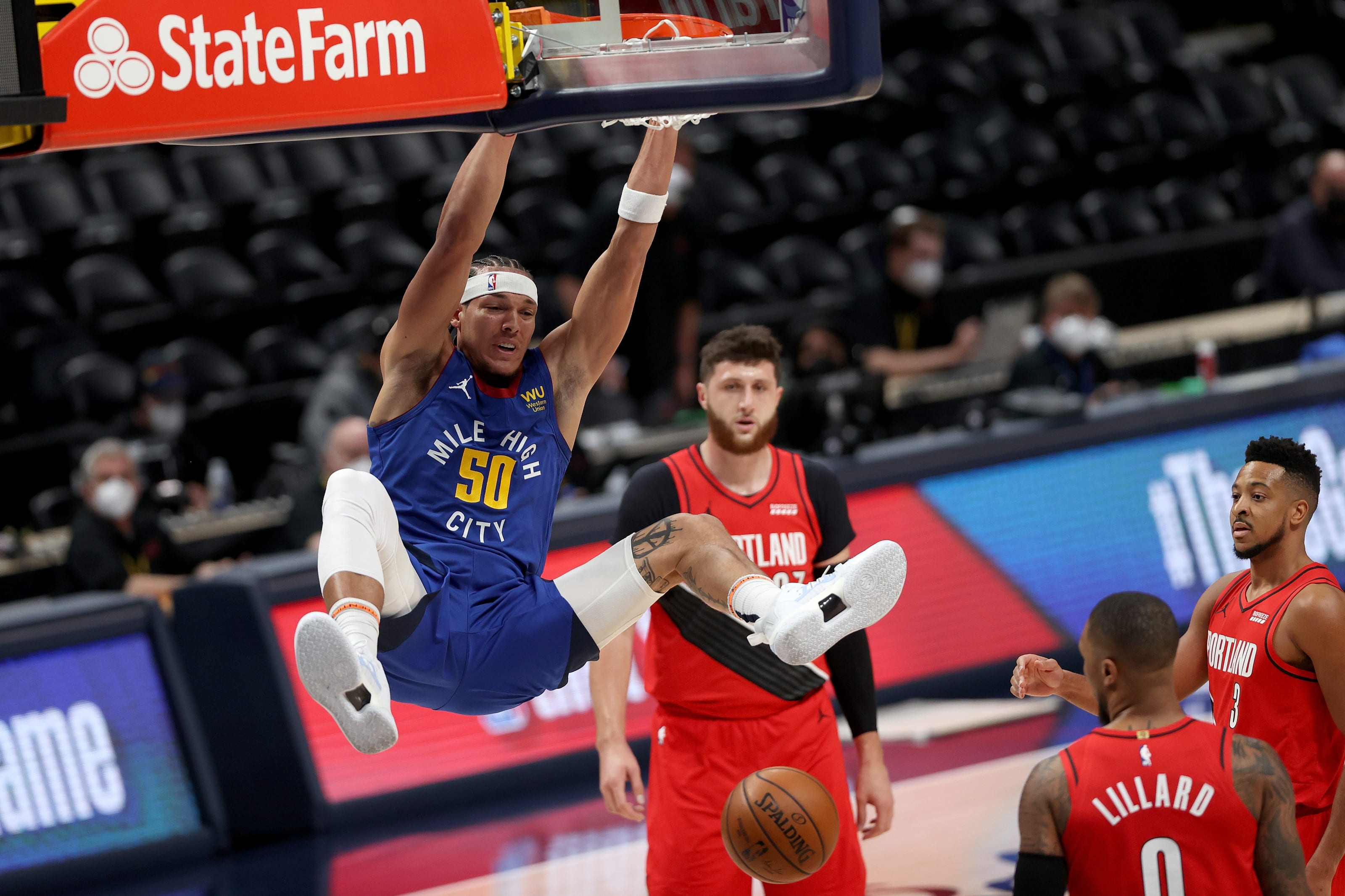Aaron Gordon of the Denver Nuggets dunks the ball against the Portland Trail Blazers in the first quarter during Game 1 of their Western Conference first-round playoff series at Ball Arena on 22 May 2021. (Photo by Matthew Stockman/Getty Images)