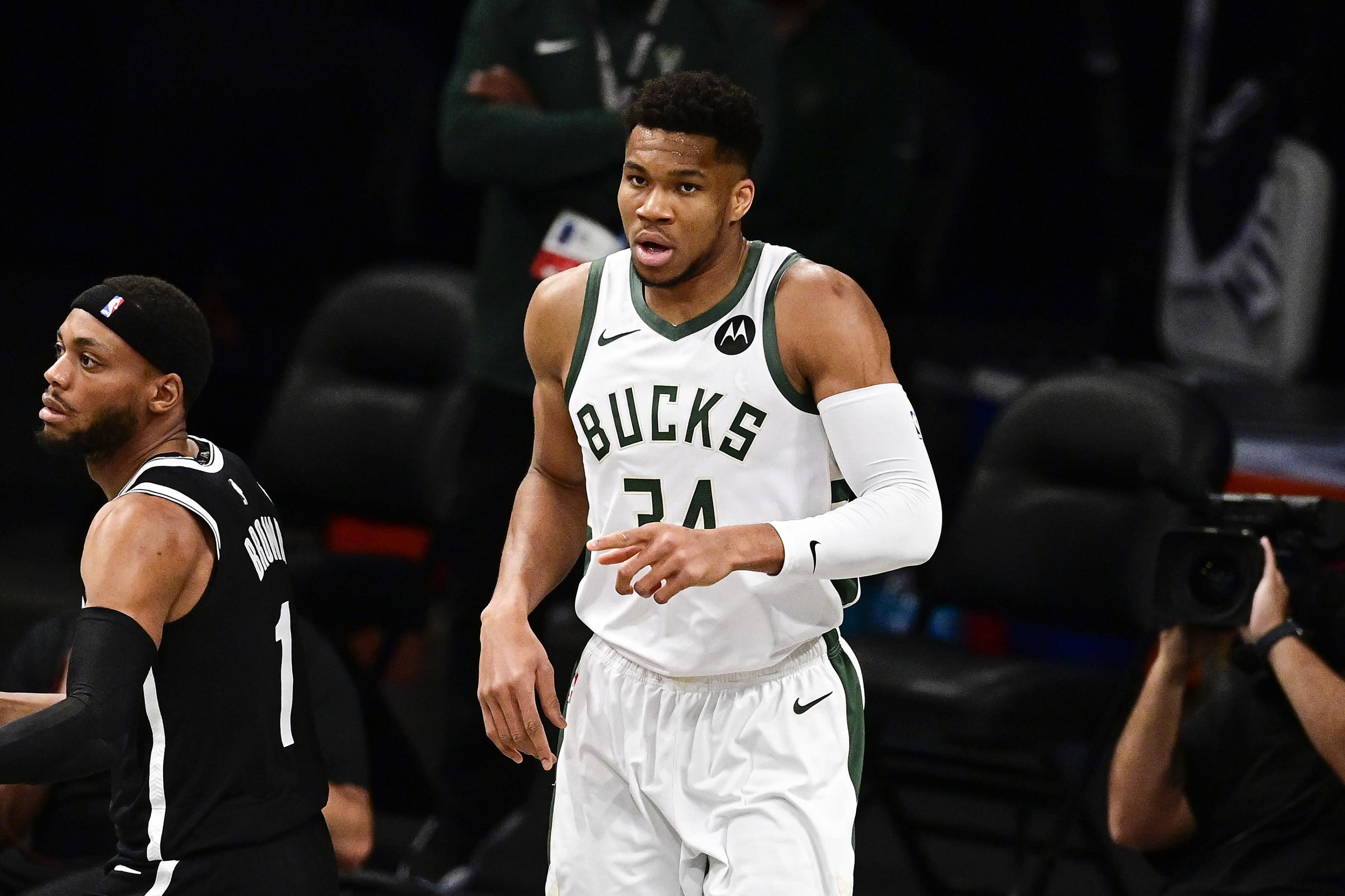 Milwaukee Bucks: Giannis Antetokounmpo, Brooklyn Nets: Bruce Brown