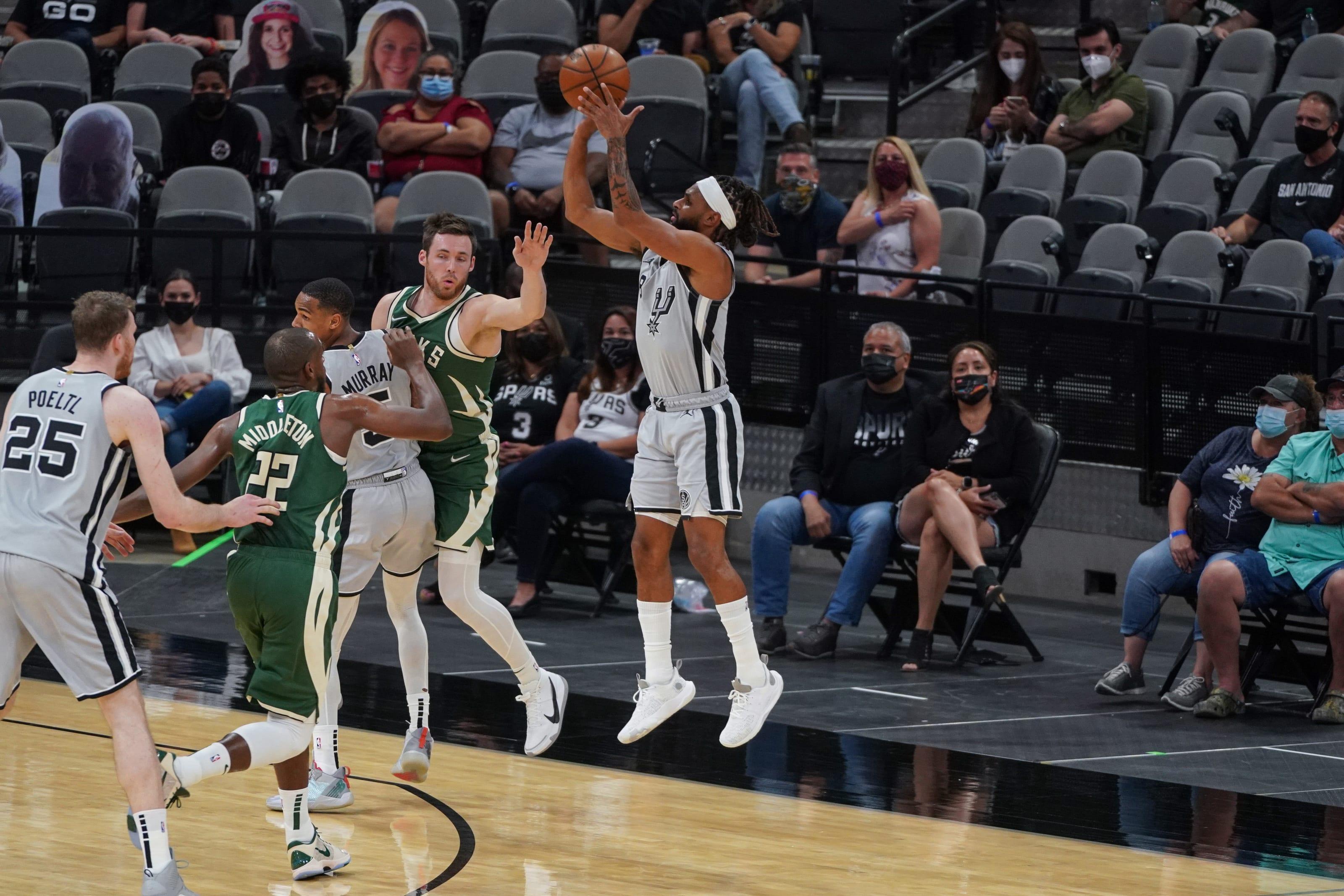 Milwaukee Bucks: Khris Middleton, Pat Connaughton, San Antonio Spurs: Jakob Poetly, Dejounte Murray, Patty Mills