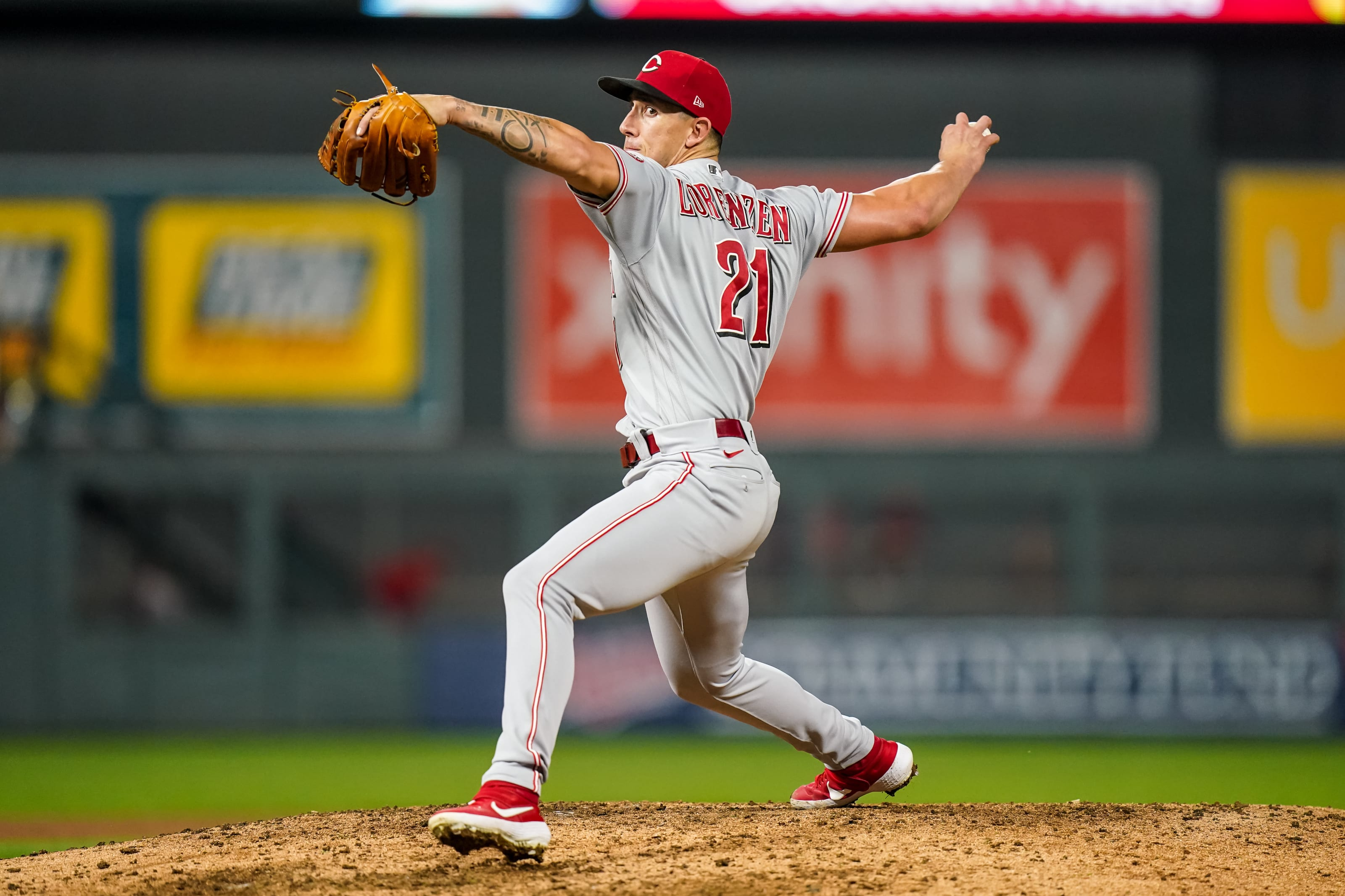 Michael Lorenzen #21 of the Cincinnati Reds pitches against the Minnesota Twins.
