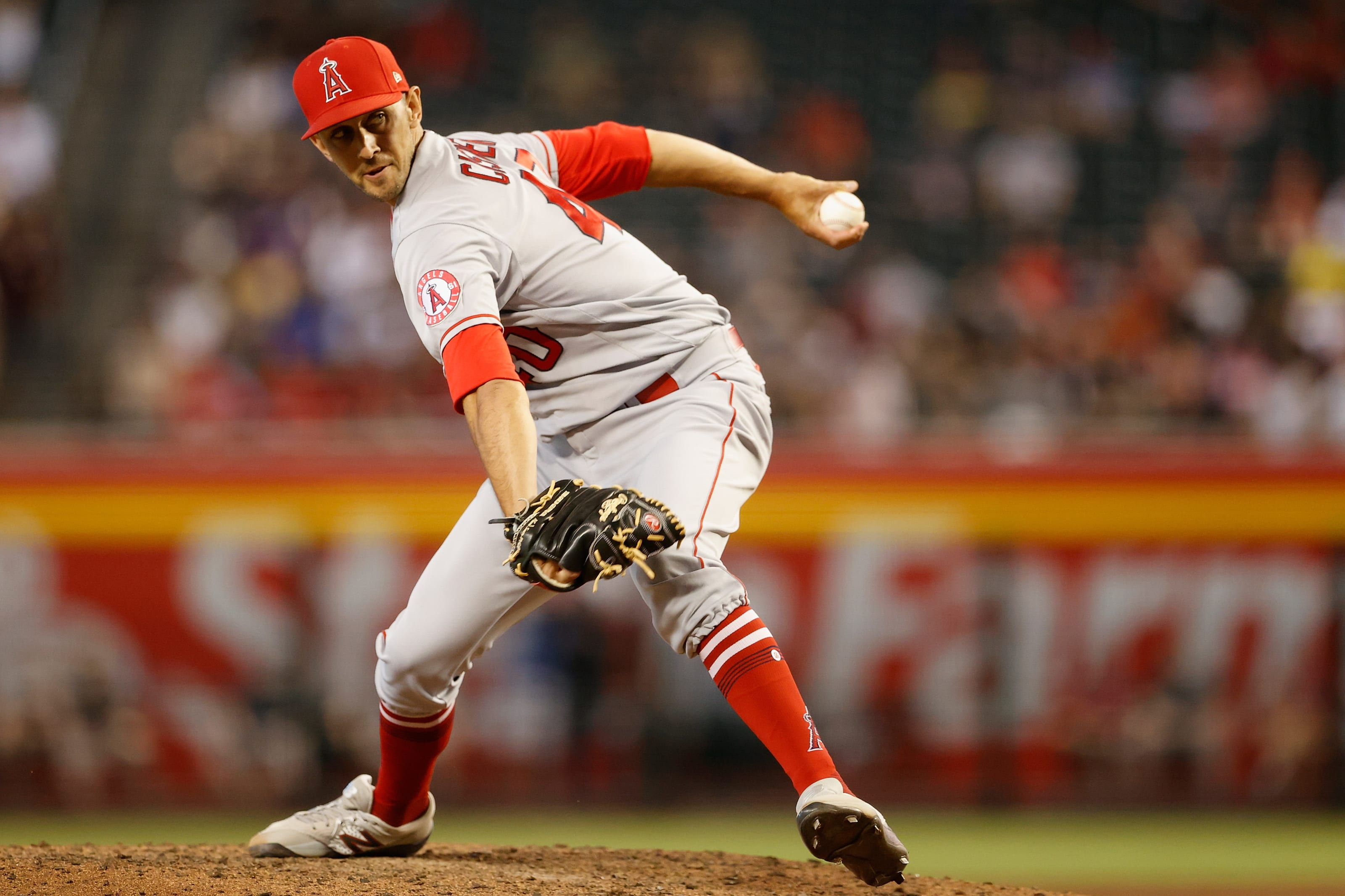 Relief pitcher Steve Cishek #40 of the Los Angeles Angels pitches. Could the Reds make a trade for Cishek?