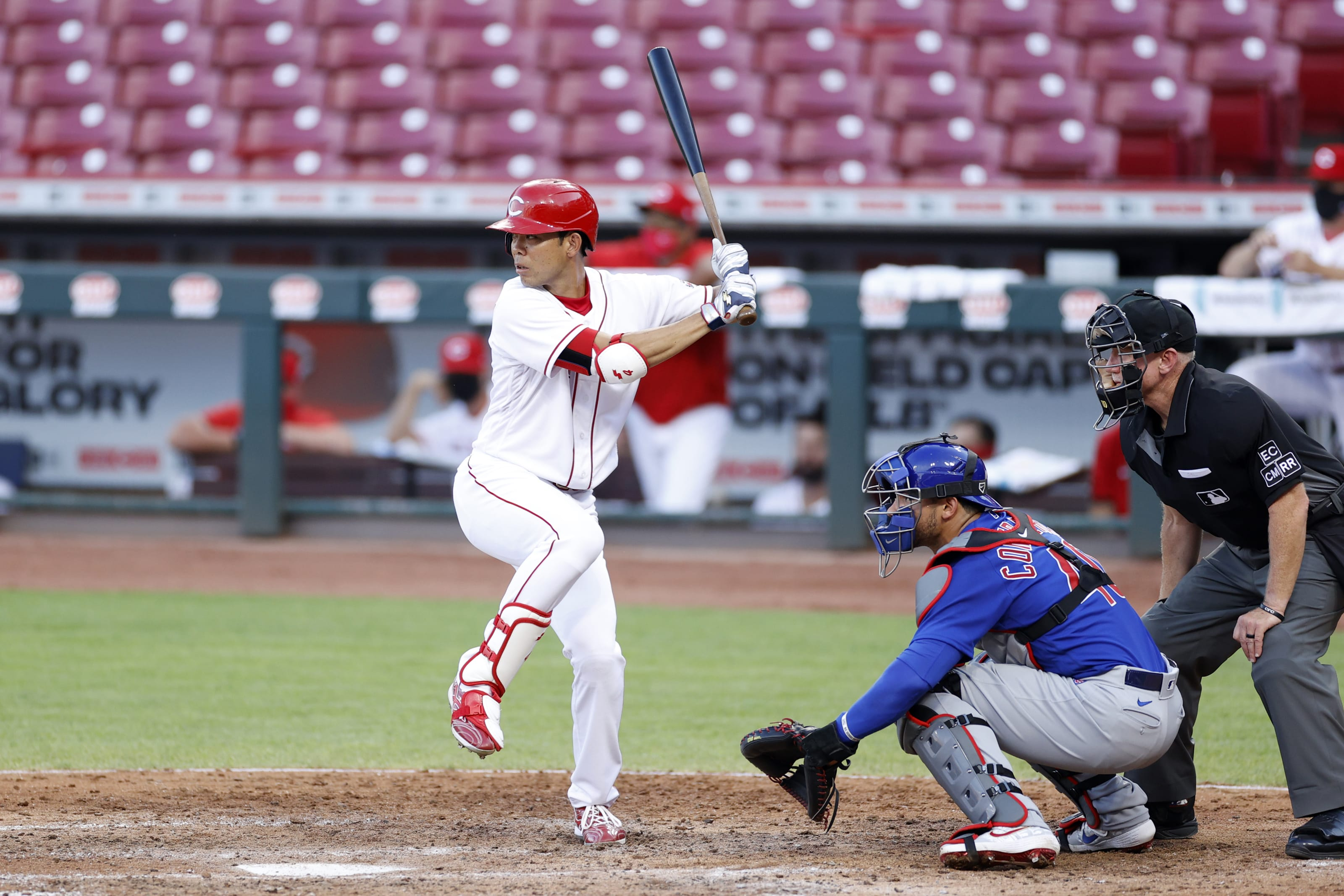 Shogo Akiyama #4 of the Cincinnati Reds bats in the fifth inning of the game against the Chicago Cubs.