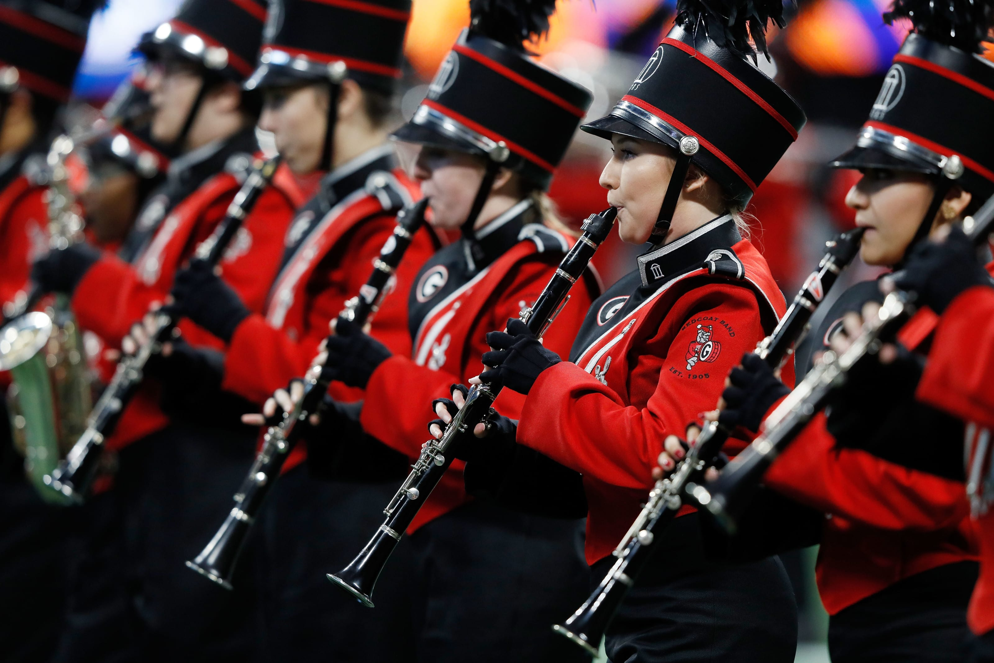 Georgia football's Georgia Redcoat marching band performs