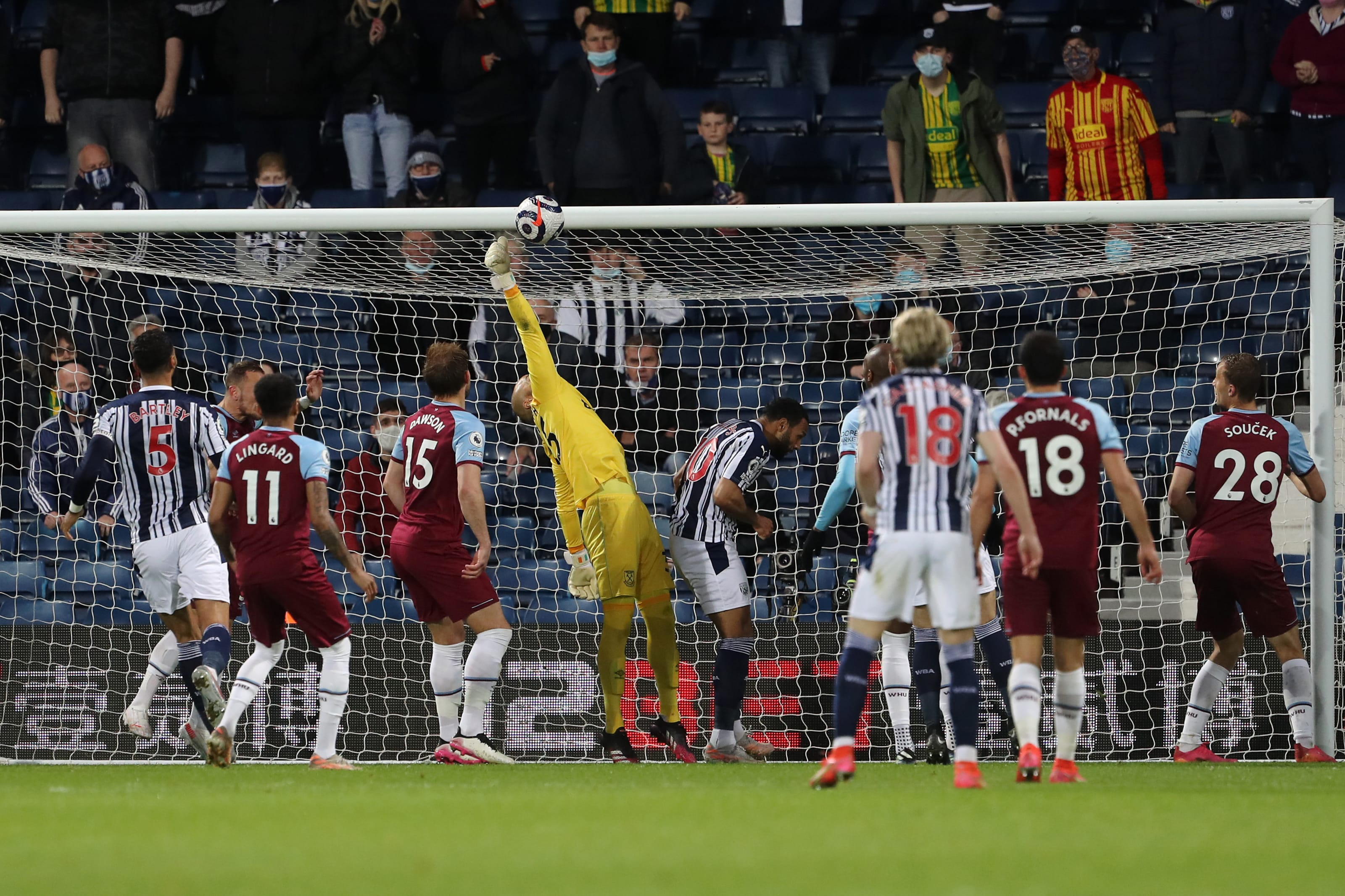 Darren Randolph of West Ham United makes a save. (Photo by Geoff Caddick - Pool/Getty Images)