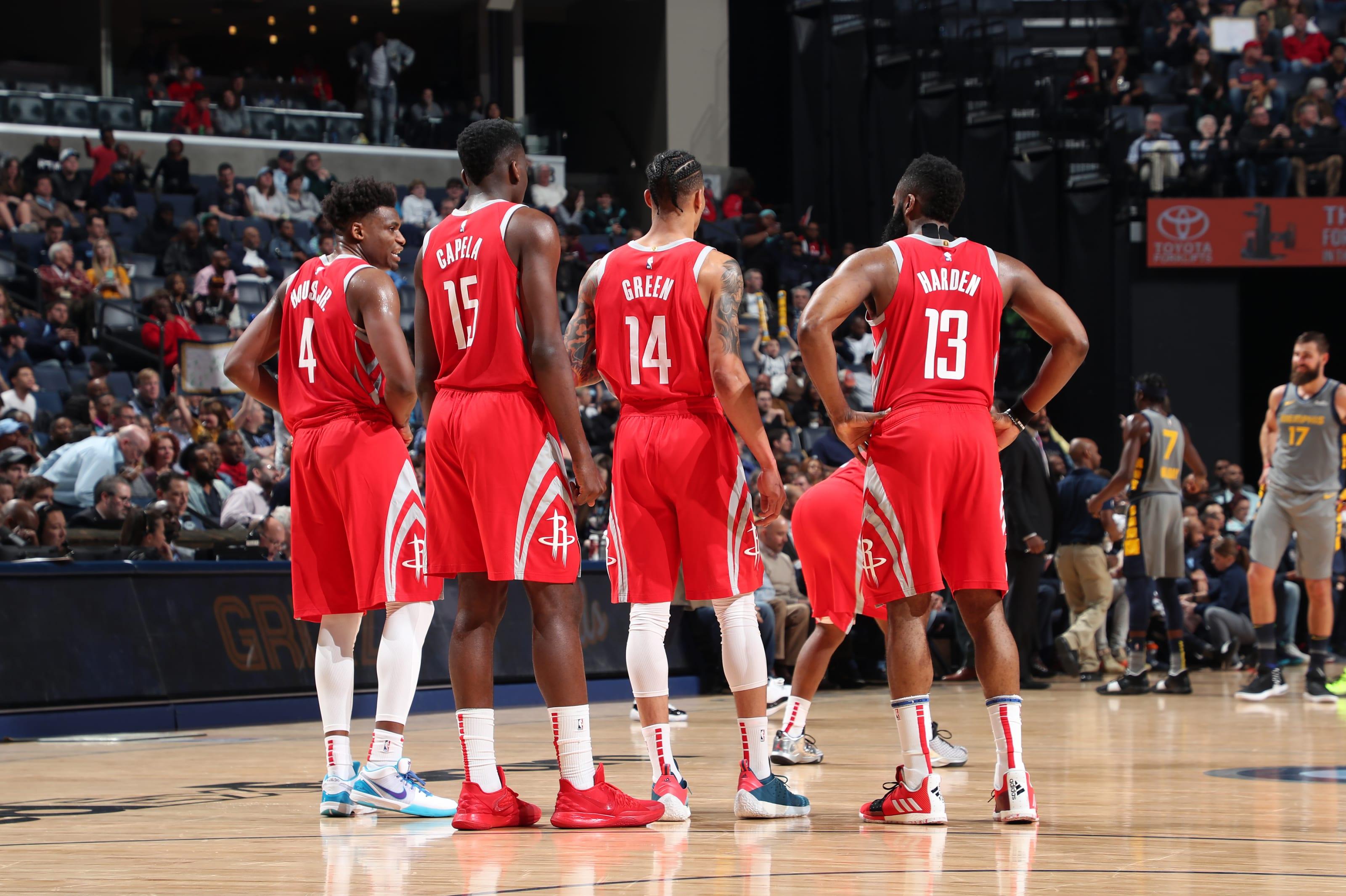 Houston Rockets huddle