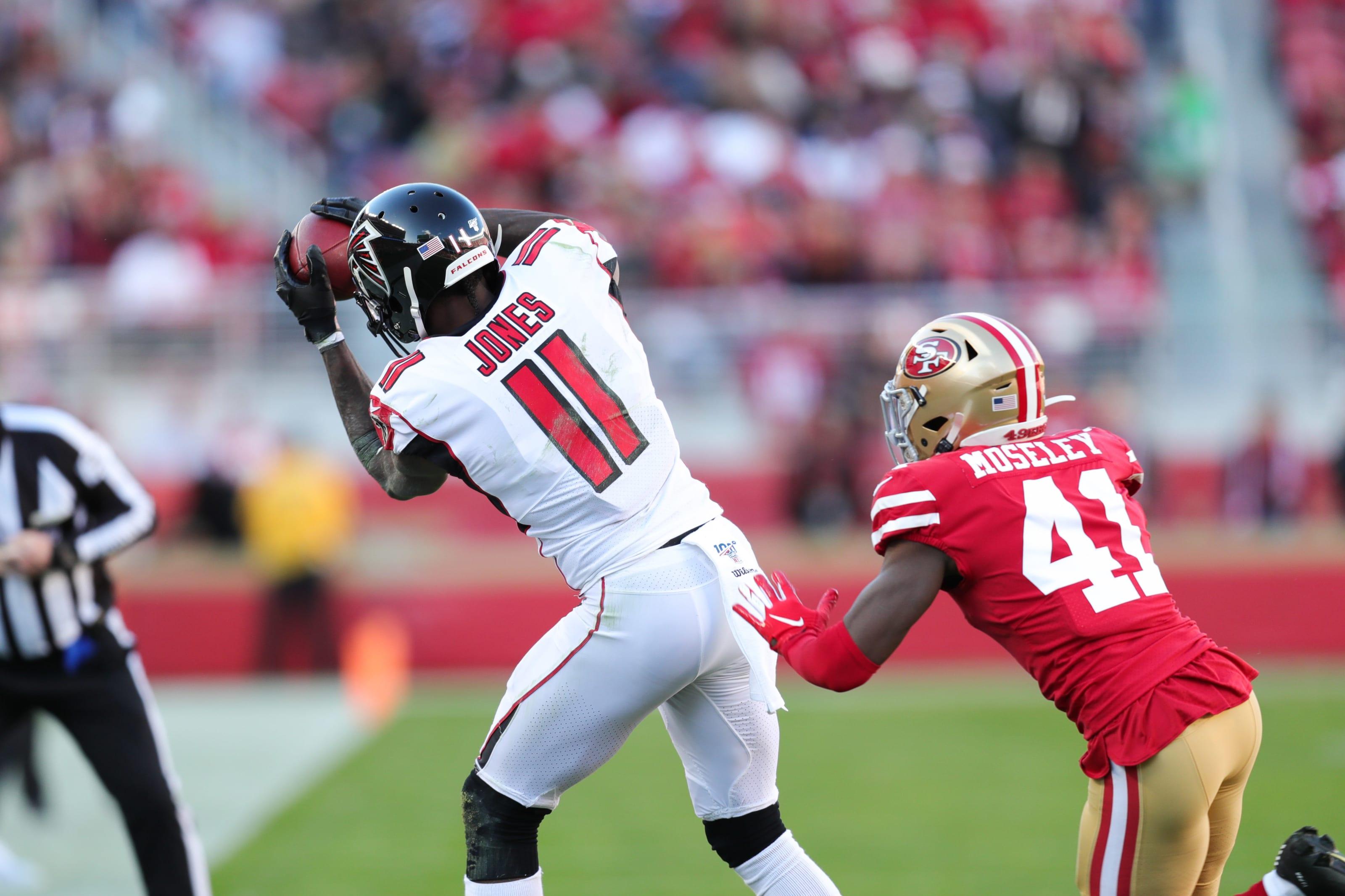Julio Jones, Emmanuel moseley, San Francisco 49ers, Atlanta Falcons