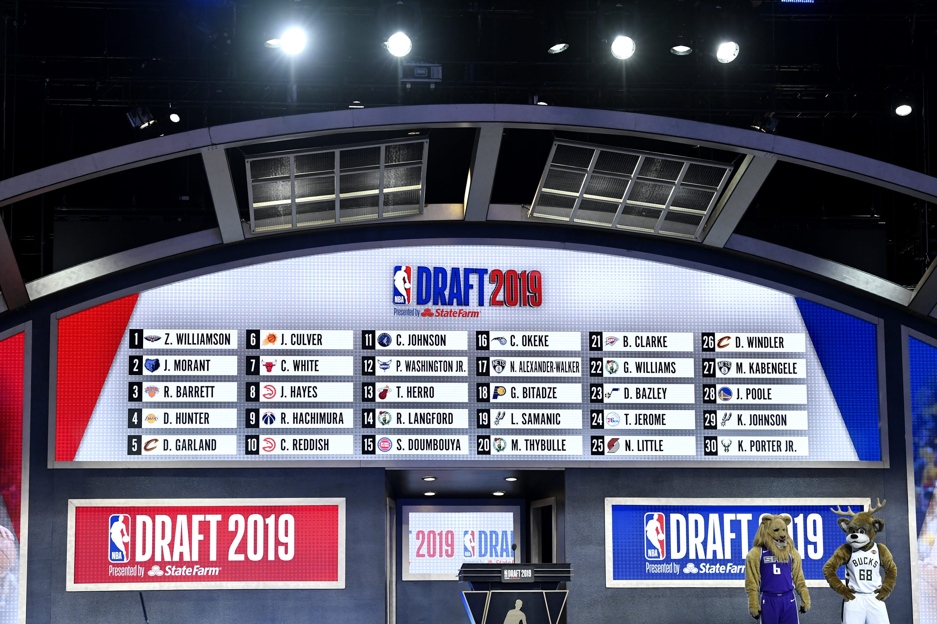 The first round draft board is seen during the 2019 NBA Draft at the Barclays Center. (Photo by Sarah Stier/Getty Images)