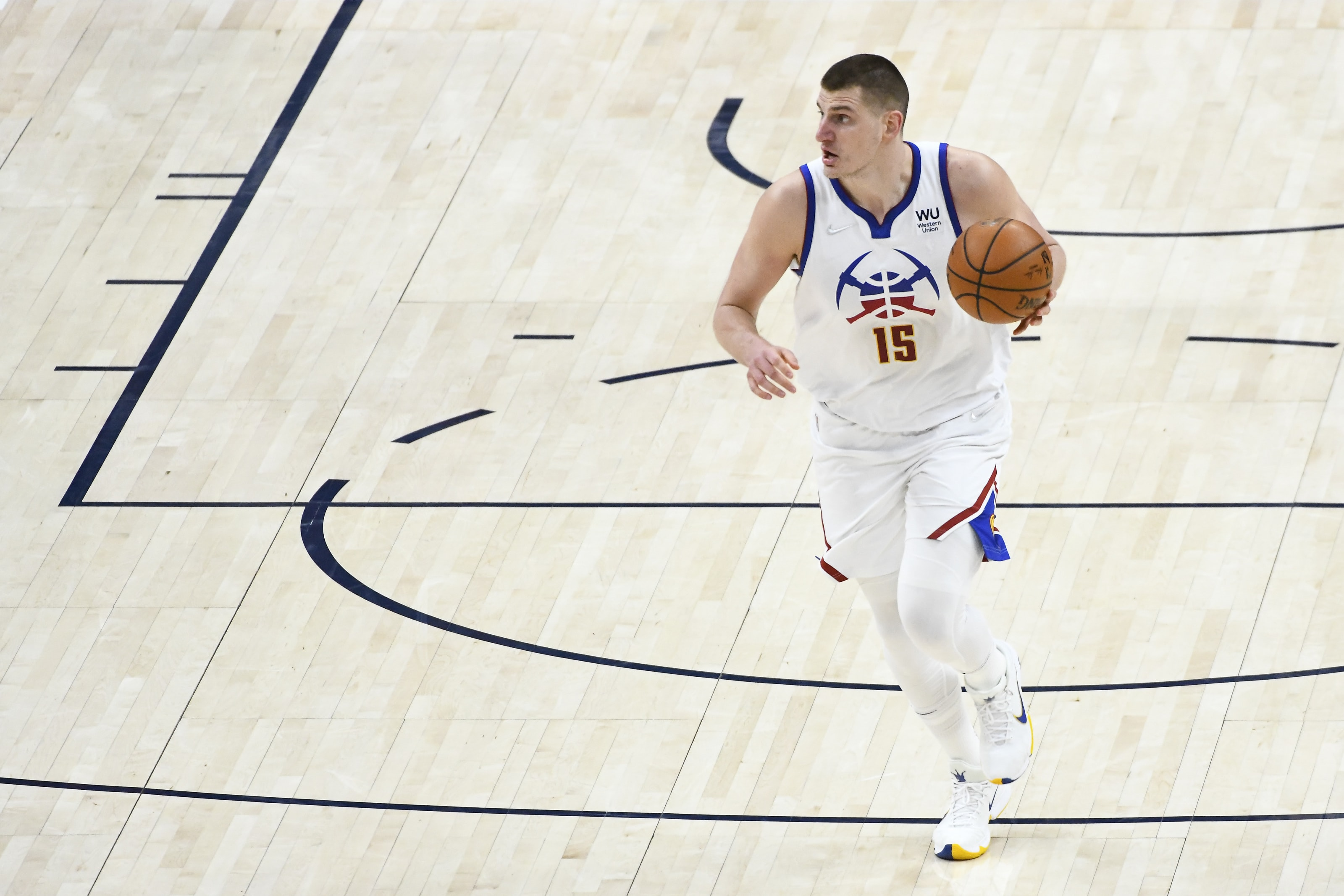 Nikola Jokic of the Denver Nuggets, the NBA 2020-21 MVP. (Photo by Alex Goodlett/Getty Images)