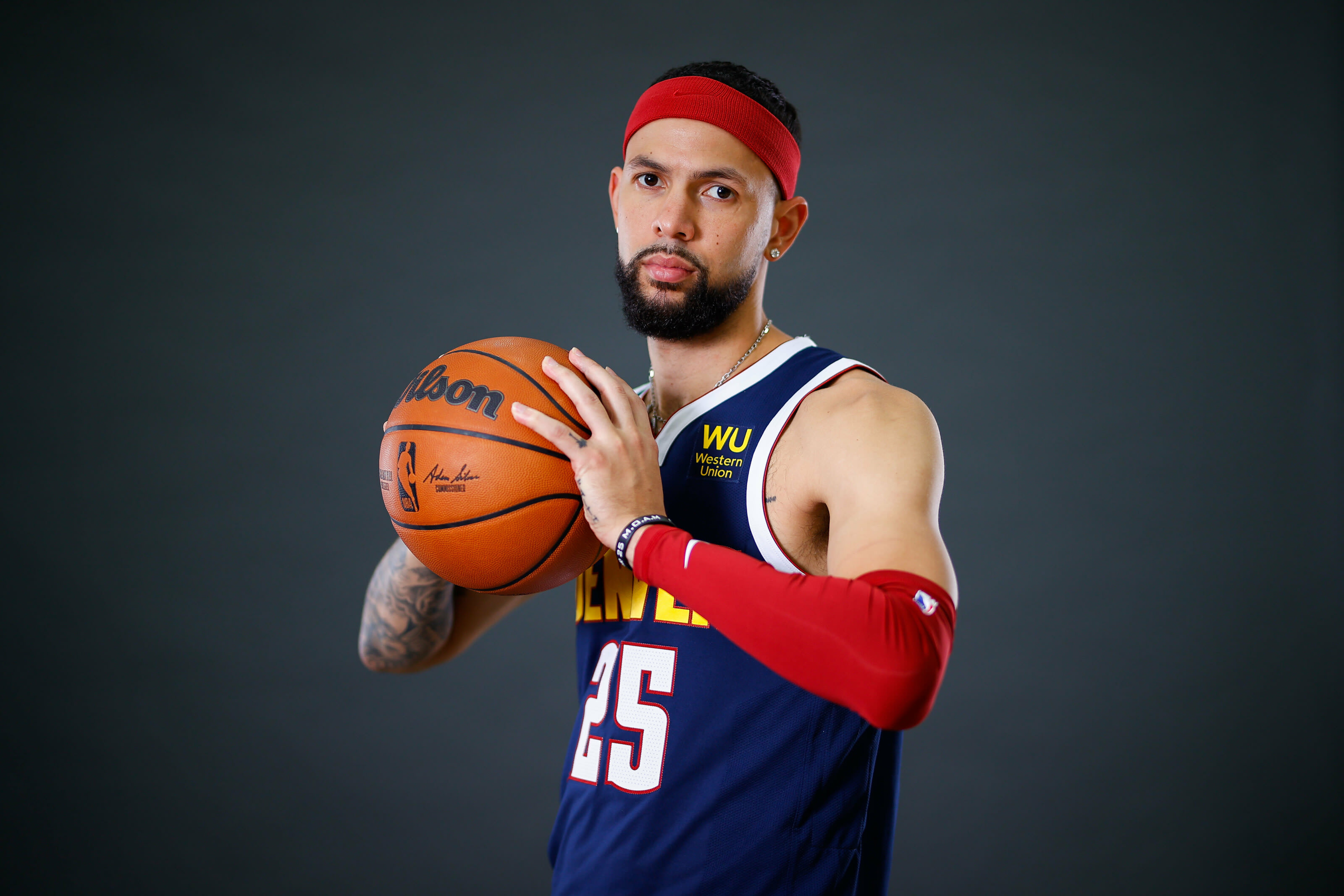 Denver Nuggets guard Austin Rivers (25) poses for a photo during media day at Ball Arena on 27 Sept. 2021. (Isaiah J. Downing-USA TODAY Sports)