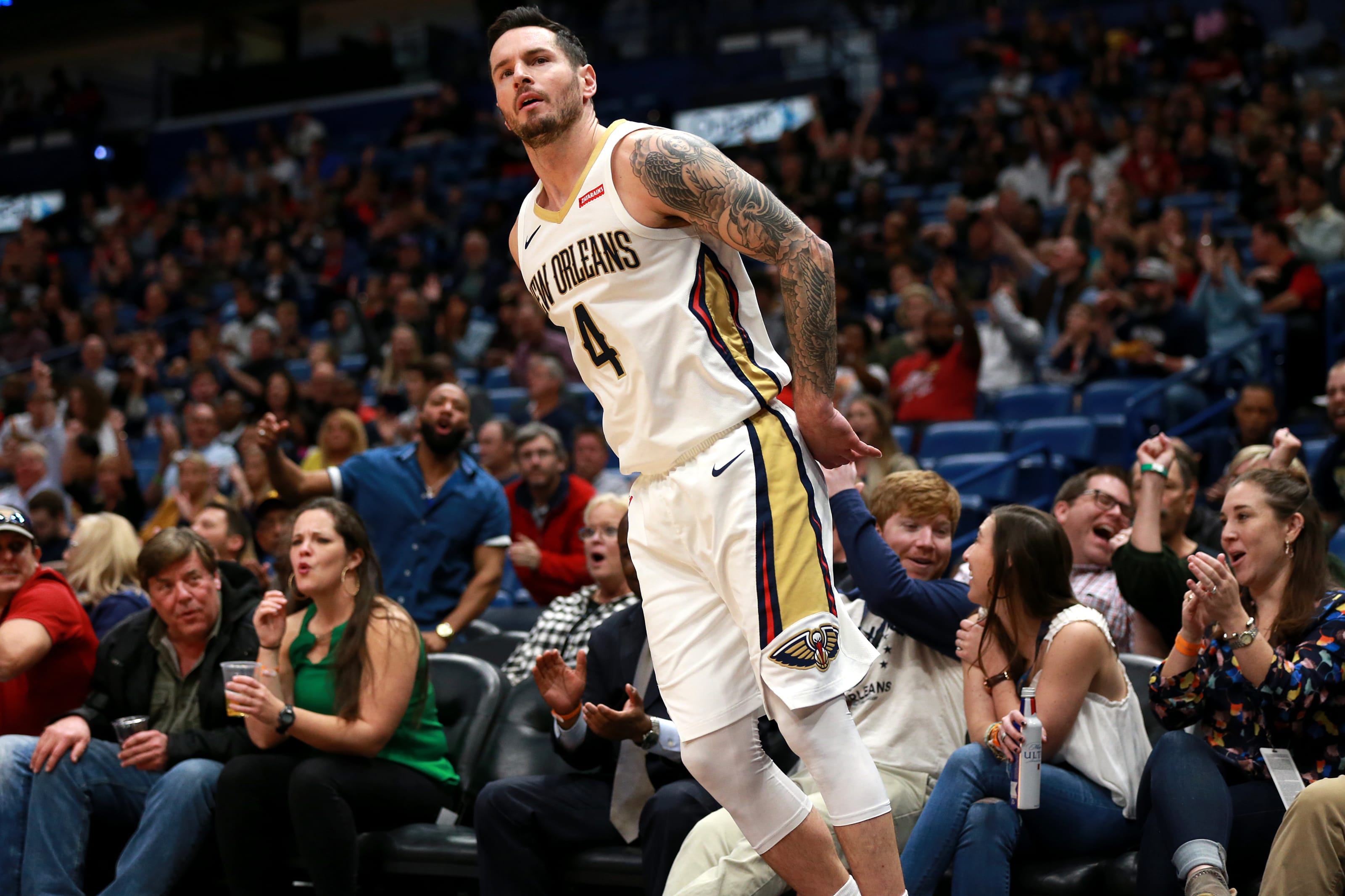 J.J. Redick drains a three for the New Orleans Pelicans against the Oklahoma City Thunder