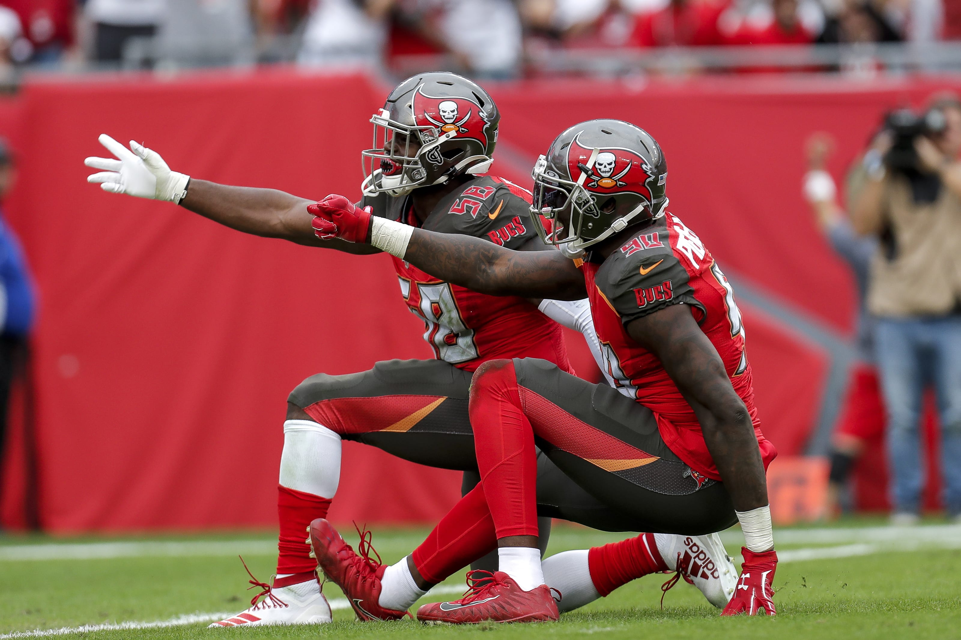 Jason Pierre-Paul, Shaquil Barrett, Tampa Bay Buccaneers (Photo by Don Juan Moore/Getty Images)