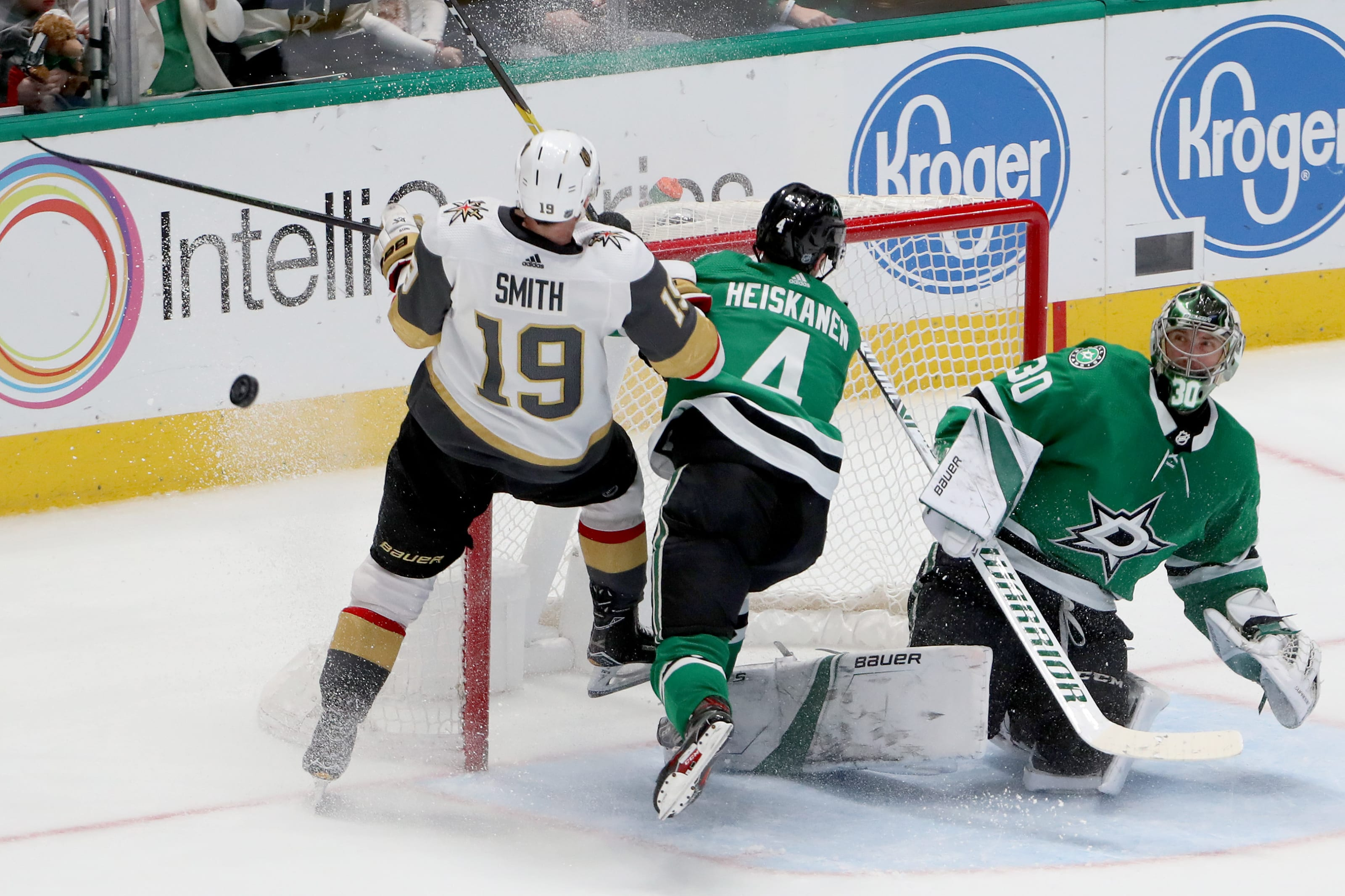 Ben Bishop #30 of the Dallas Stars blocks a shot on goal