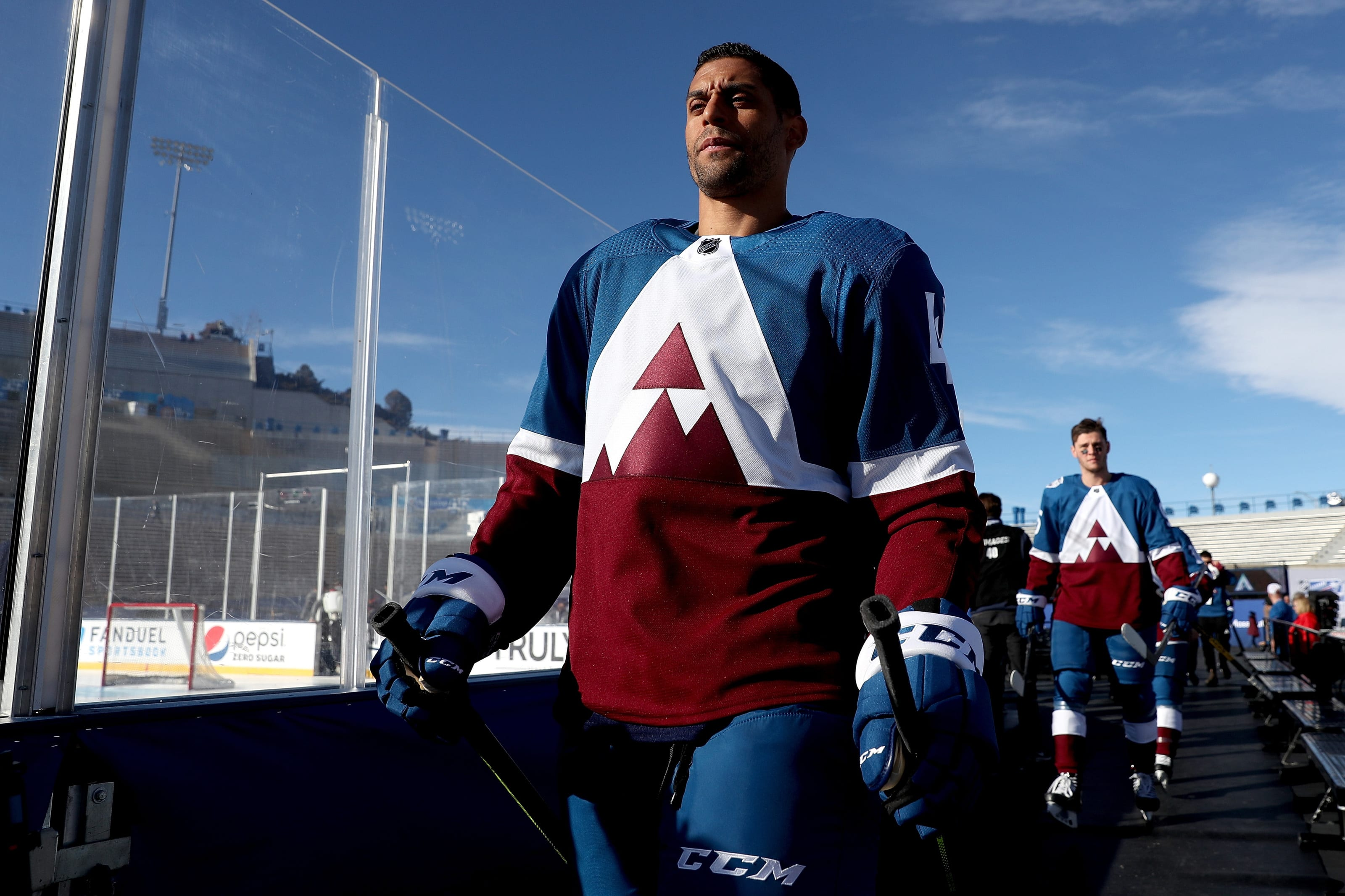 Pierre-Edouard Bellemare #41 of the Colorado Avalanche walks to the ice for practice prior to the 2020 NHL Stadium Series.