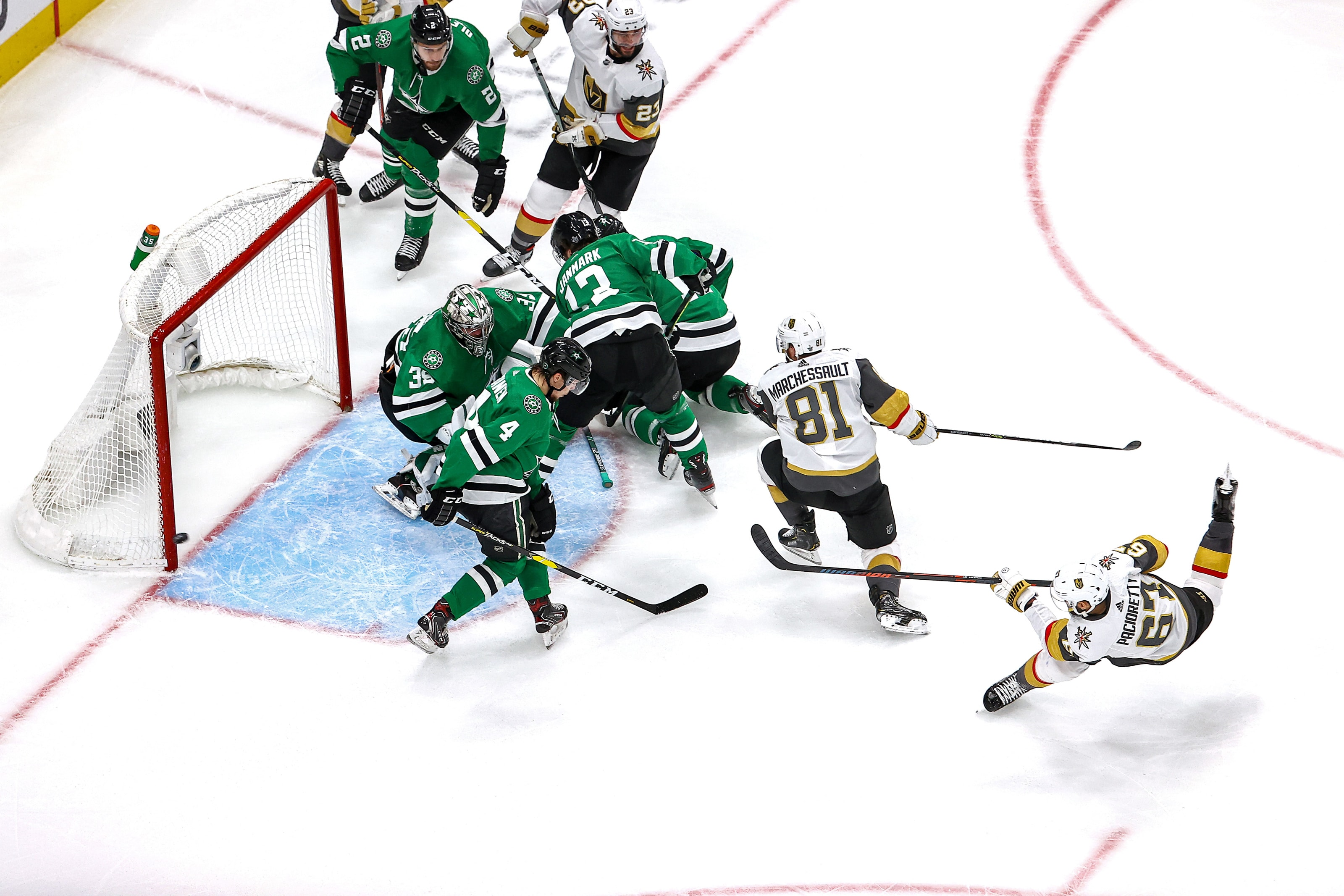 Max Pacioretty #67 of the Vegas Golden Knights hits the post on a shot against Anton Khudobin #35 of the Dallas Stars
