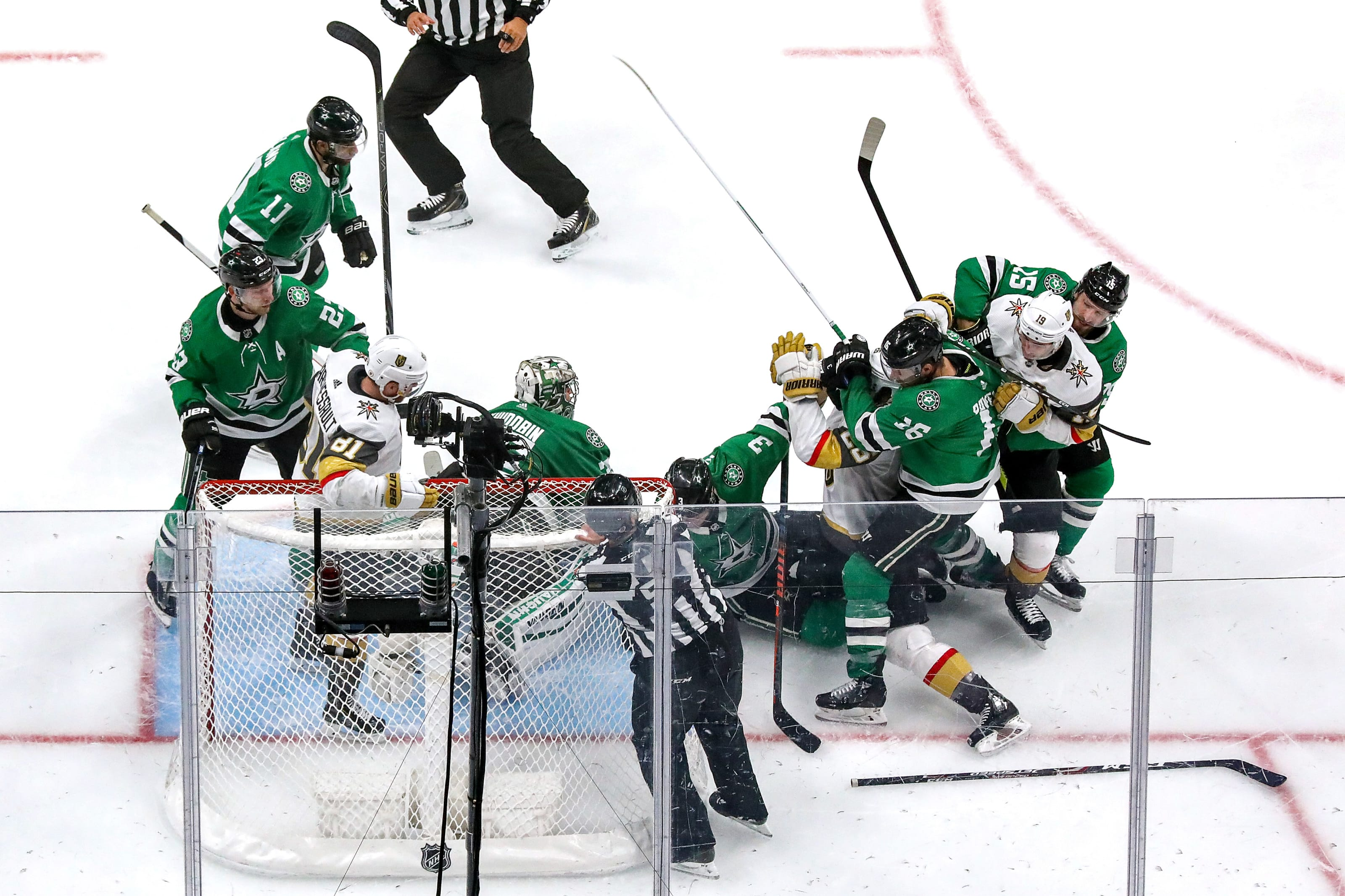 The Vegas Golden Knights and Dallas Star scuffle during the third period in Game Four