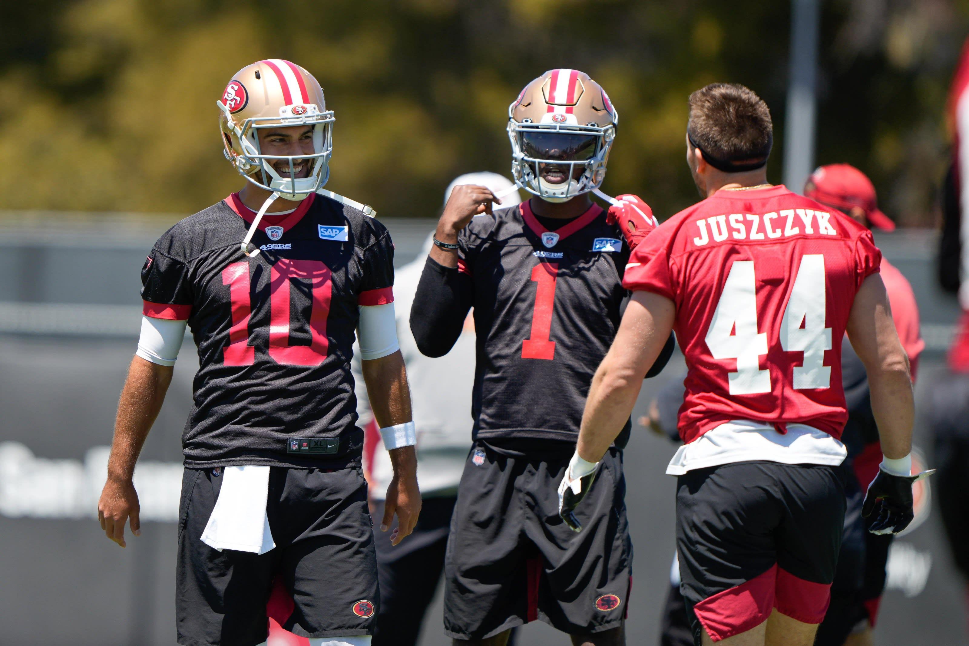 Jimmy Garoppolo, Kyle Juszczyk, San Francisco 49ers