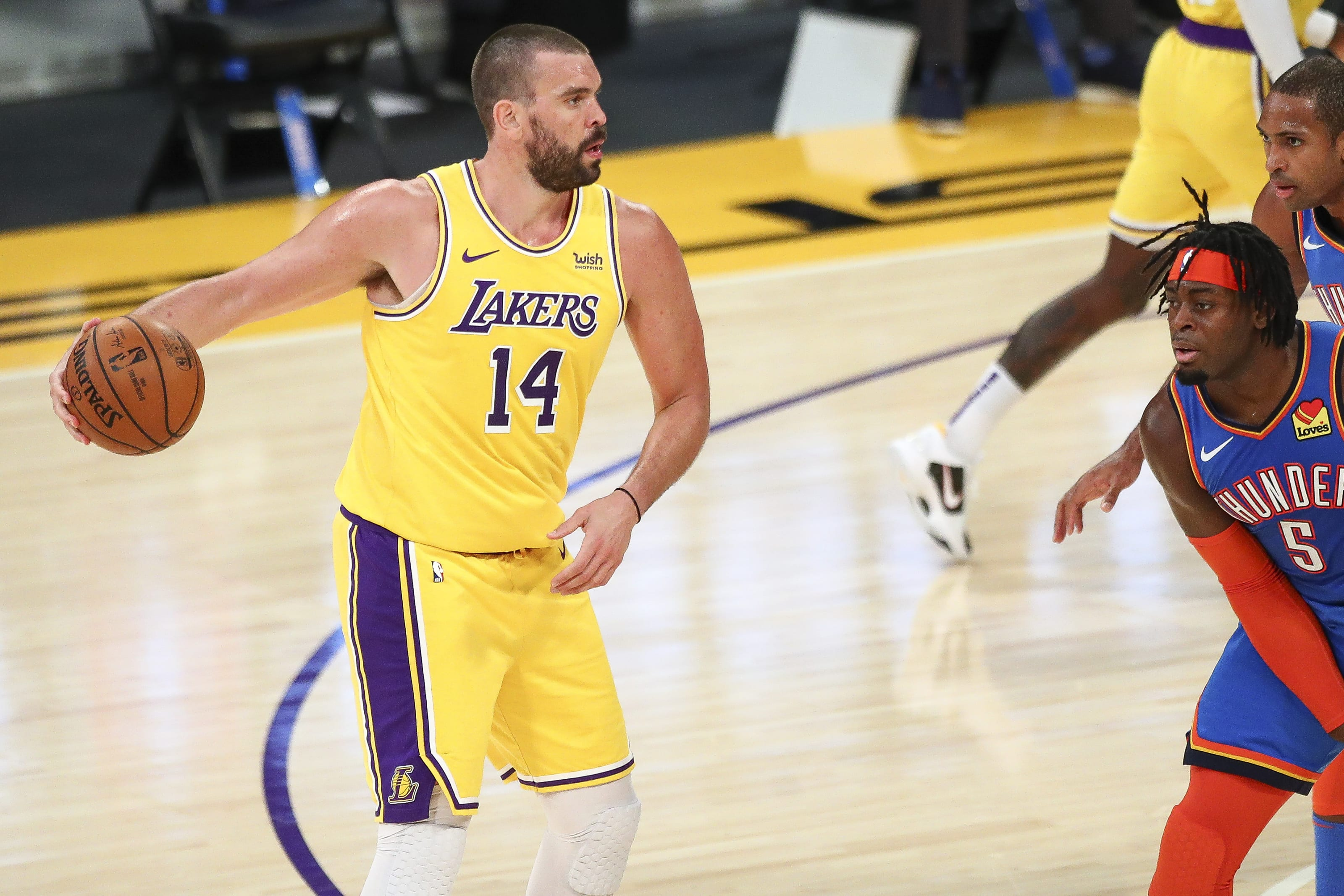 Should the Denver Nuggets make a move for Marc Gasol? Marc Gasol of the Los Angeles Lakers handles the ball in the game on 8 Feb. 2021. (Photo by Meg Oliphant/Getty Images)