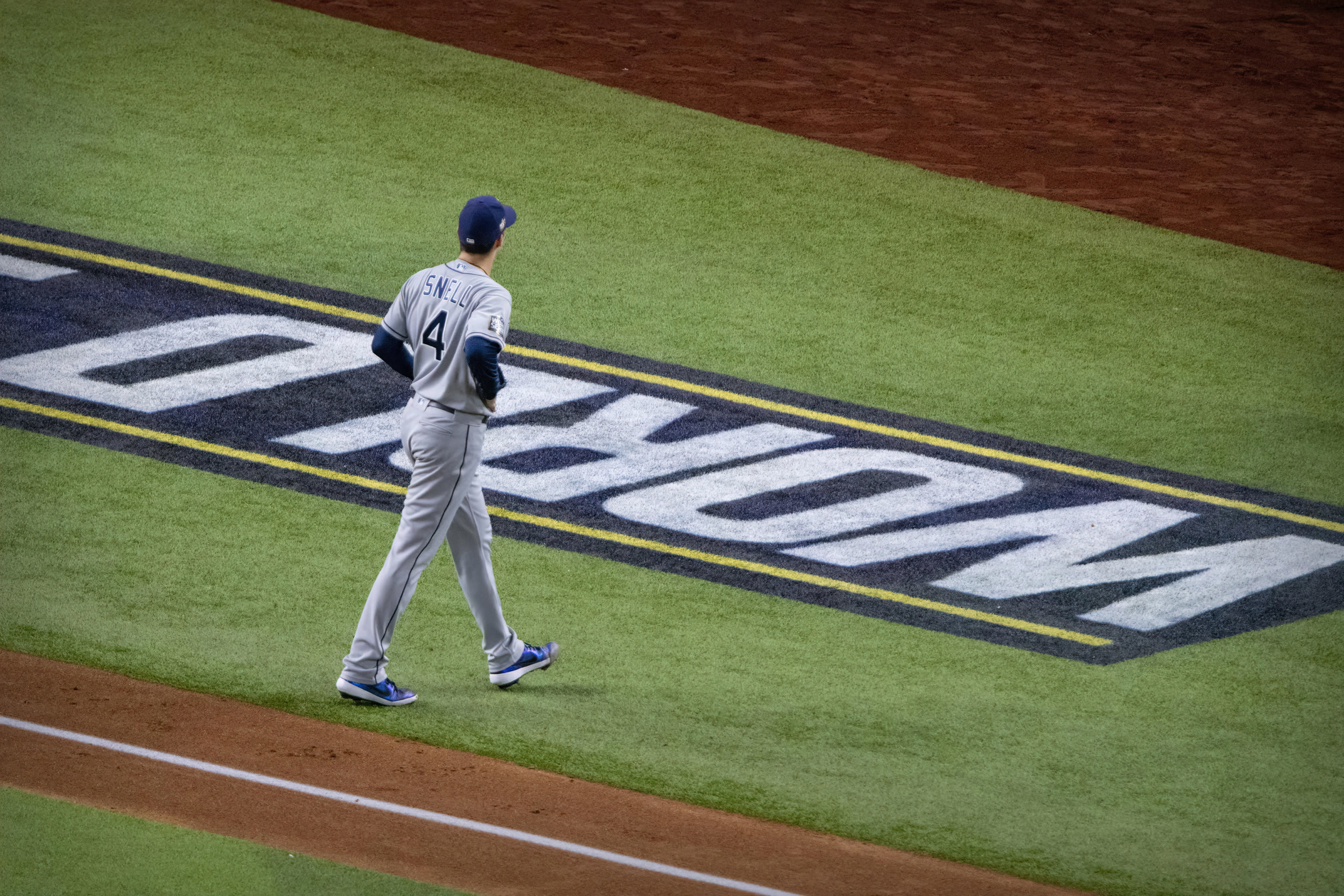 Tampa Bay Rays starting pitcher Blake Snell walks off the field