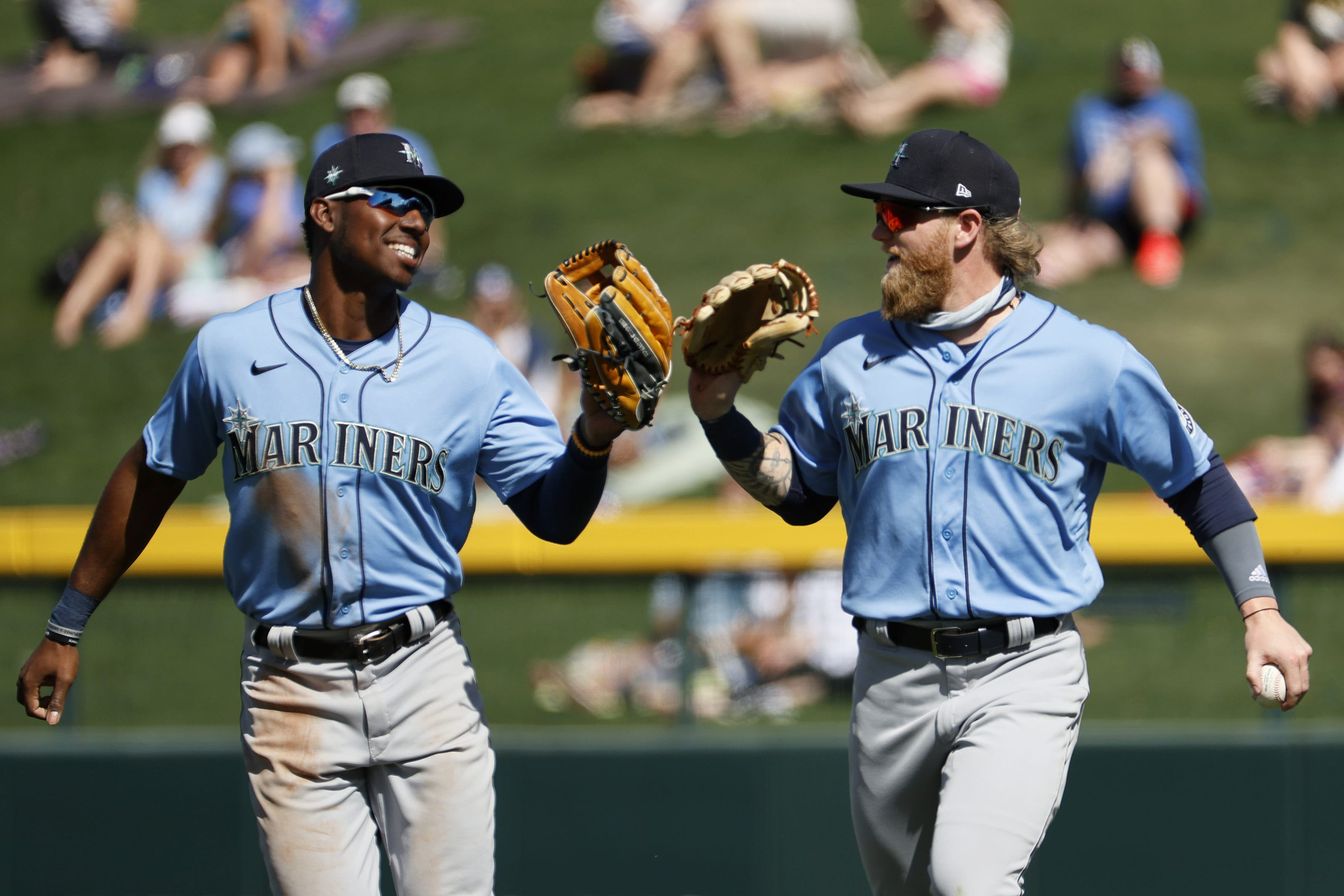 Kyle Lewis and Jake Fraley of the Mariners in Spring Training.