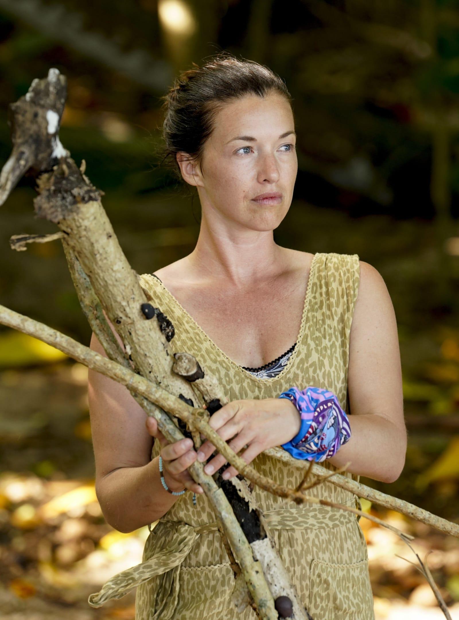 Parvati Shallow gathering wood Survivor Winners at War episode 1