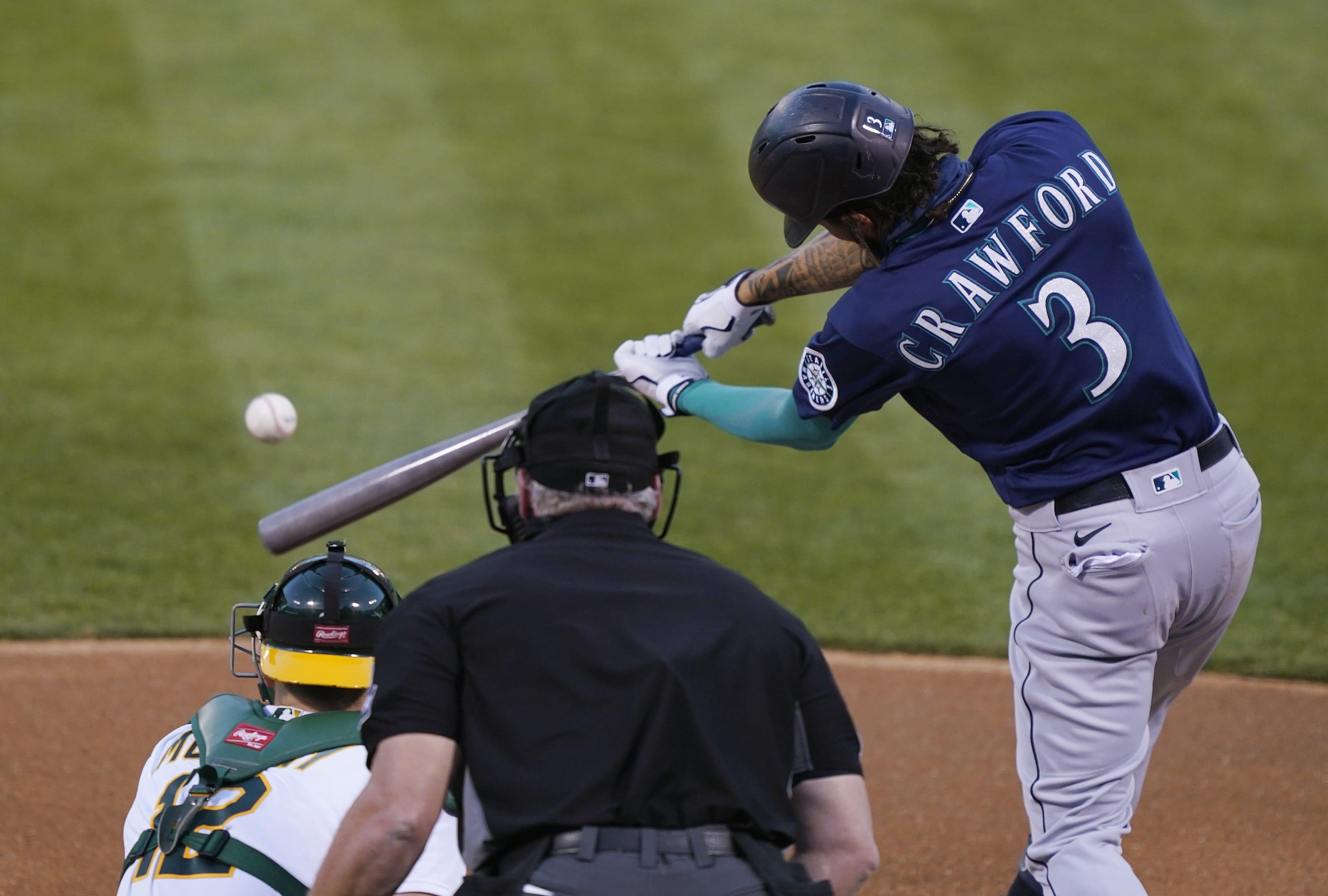 J.P. Crawford hits the ball.