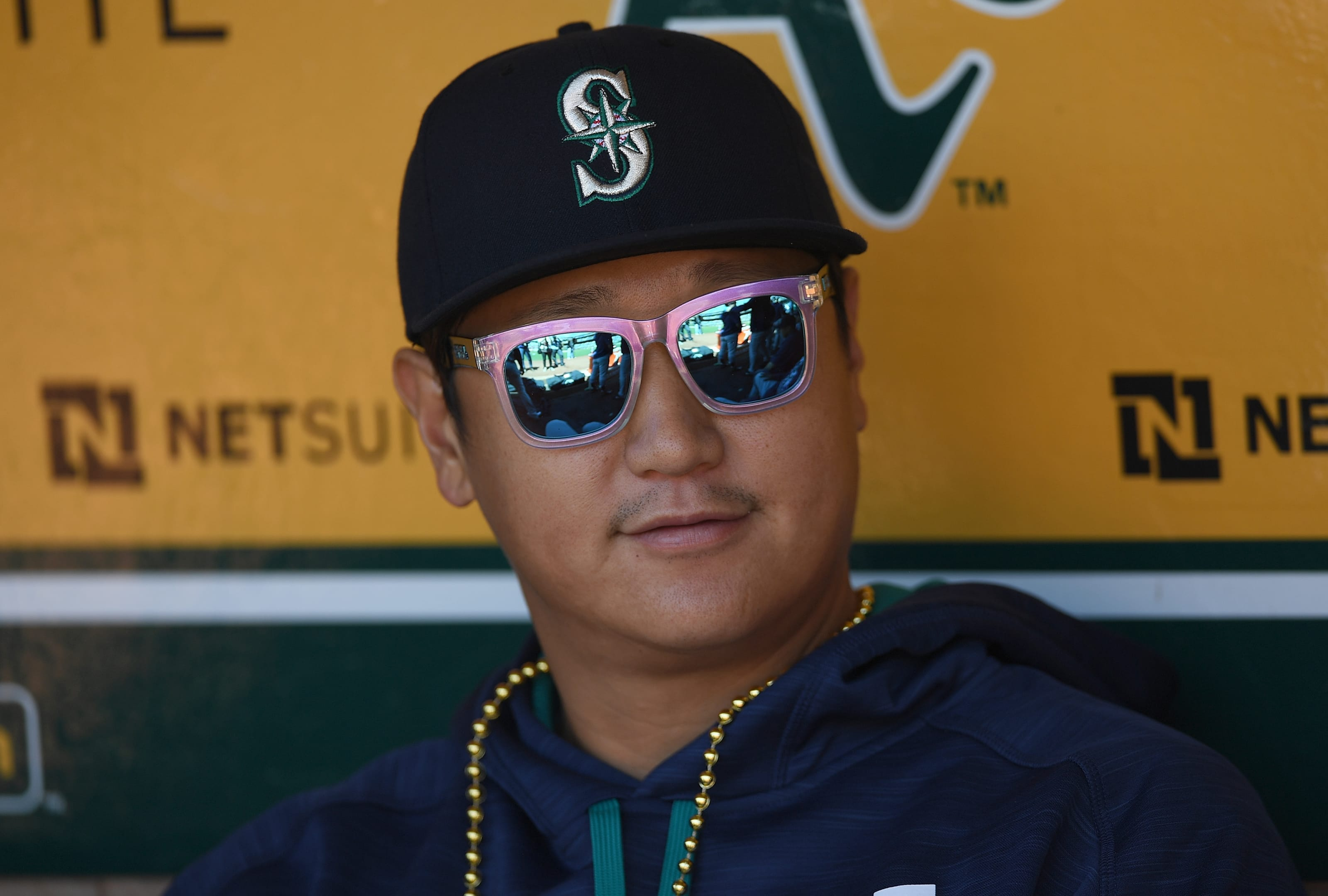 Dae-Ho Lee of the Seattle Mariners looks on.