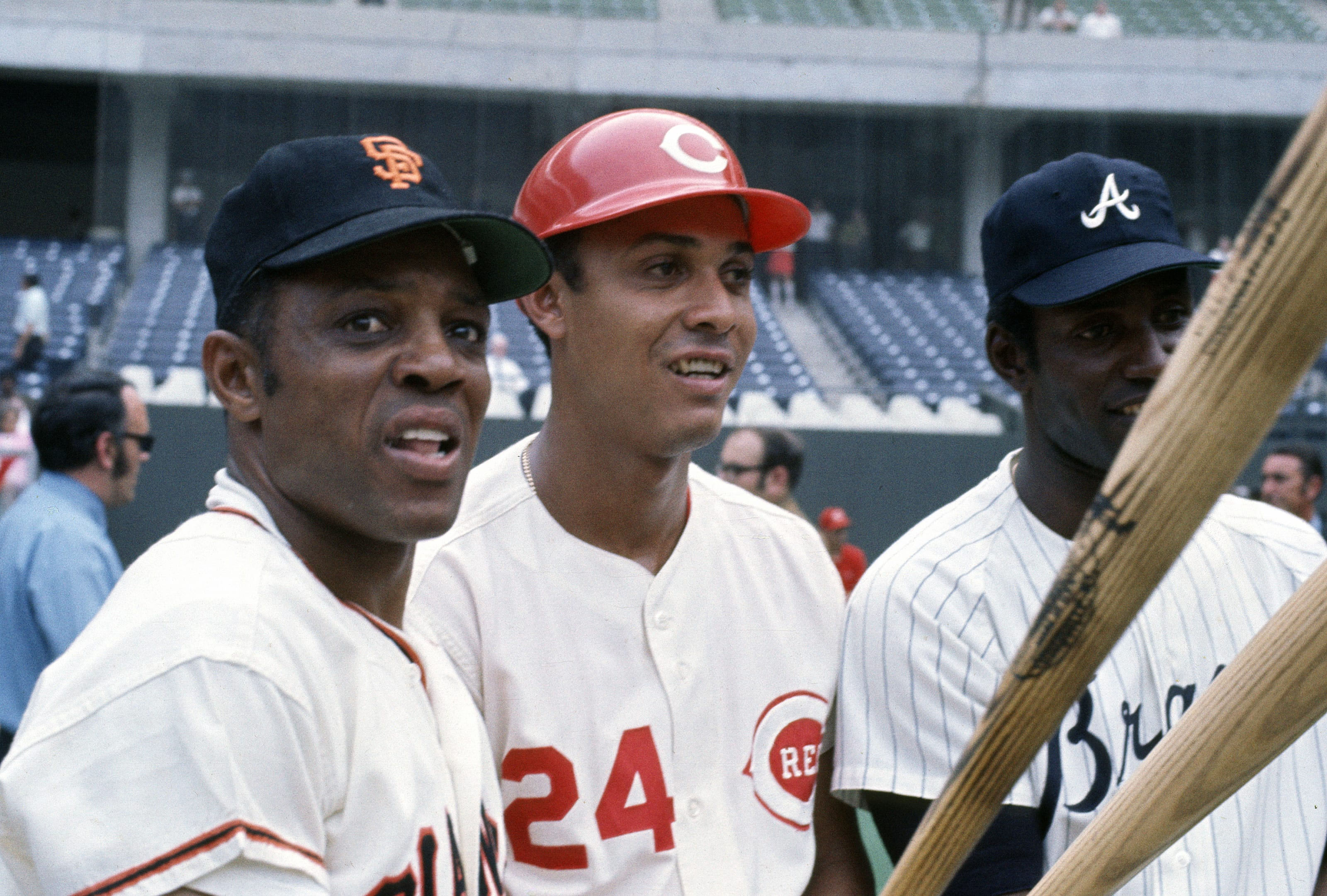 1970 All-Stars: (L-R) Willie Mays #24 of the San Francisco Giants, Tony Perez #24 of the Cincinnati Reds and Rico Carty #25 of the Atlanta Braves. (Photo by Focus on Sport/Getty Images)