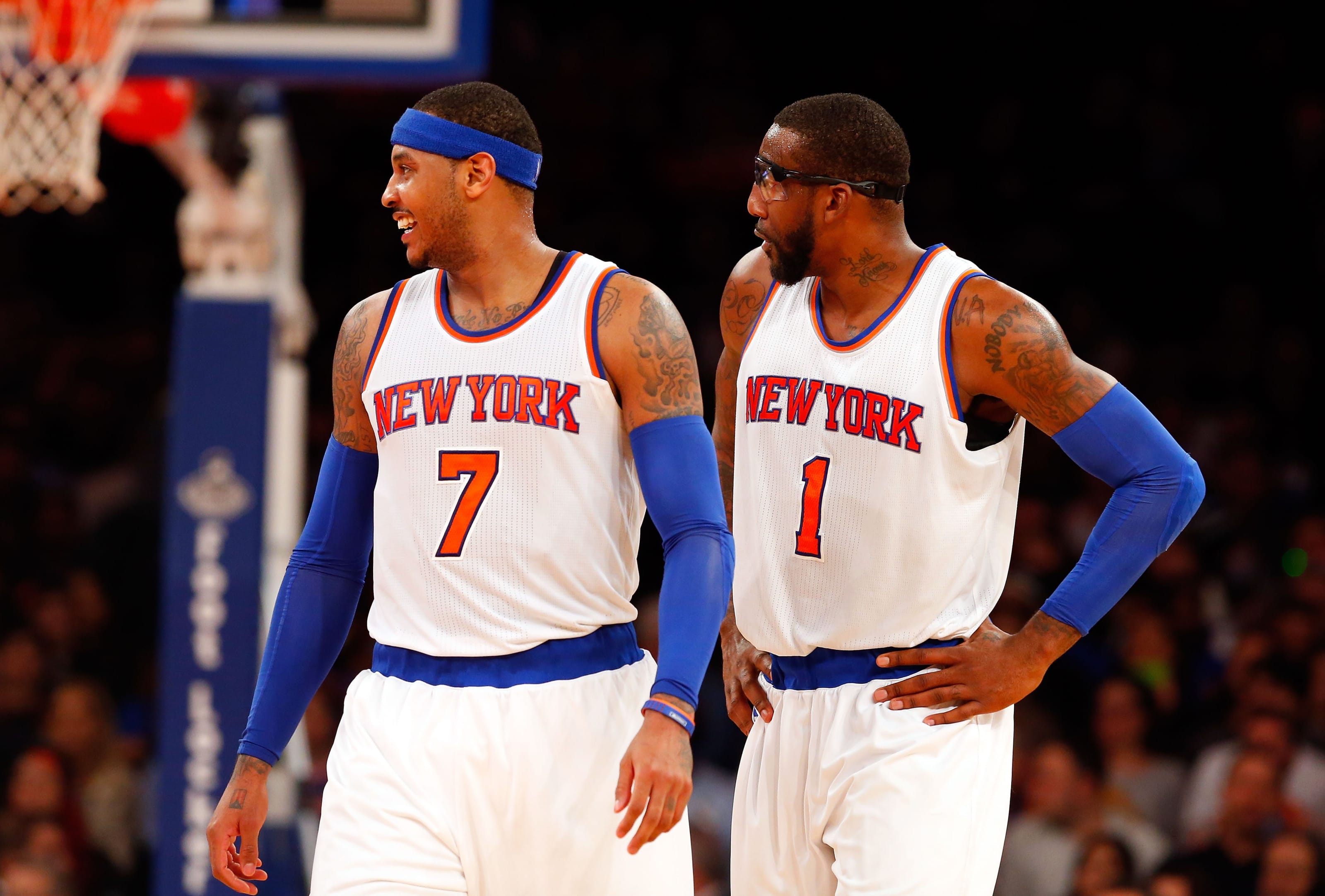 Carmelo Anthony and Amar'e Stoudemire, New York Knicks on 30 Nov. 2014 in New York City.(Photo by Jim McIsaac/Getty Images)