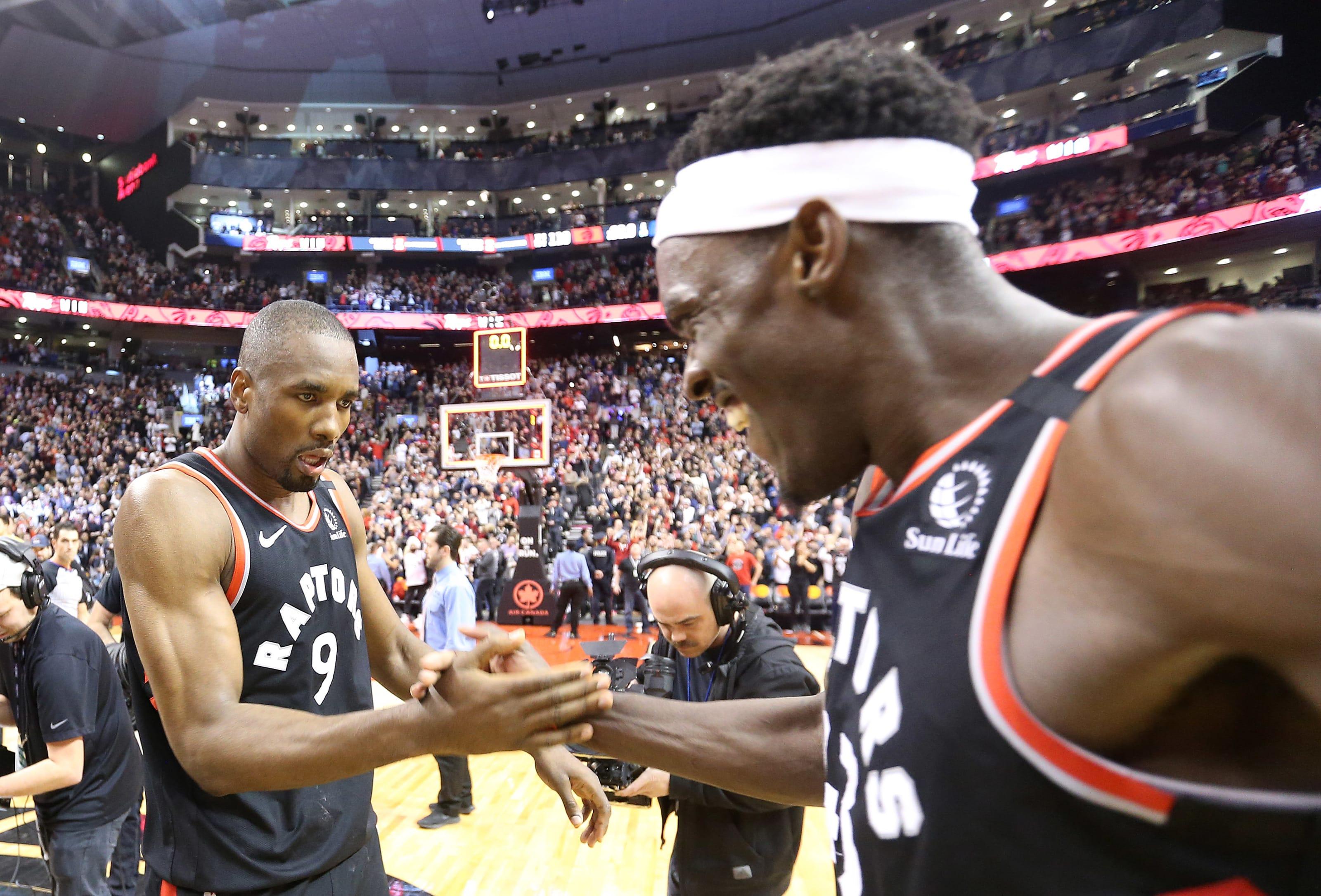Toronto Raptors Pascal Siakam and Serge Ibaka celebrate