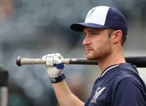 Apr 18, 2015; Pittsburgh, PA, USA; Milwaukee Brewers catcher Jonathan Lucroy (20) waits his turn in the batting cage before playing the Pittsburgh Pirates at PNC Park. Mandatory Credit: Charles LeClaire-USA TODAY Sports