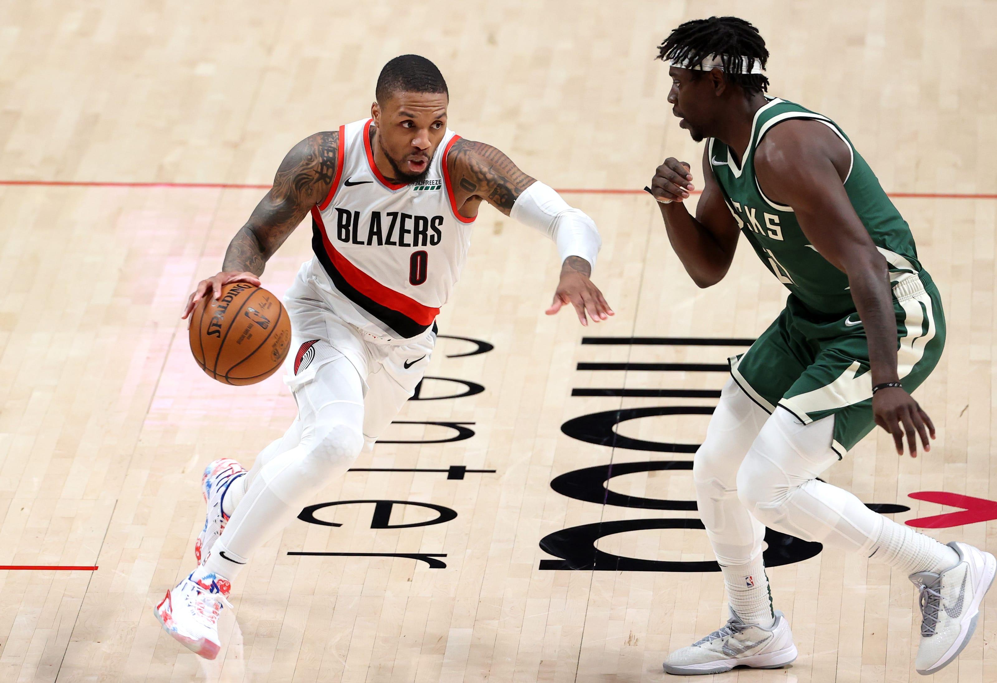 Jrue Holiday, Damian Lillard, Portland Trail Blazers, Milwaukee Bucks