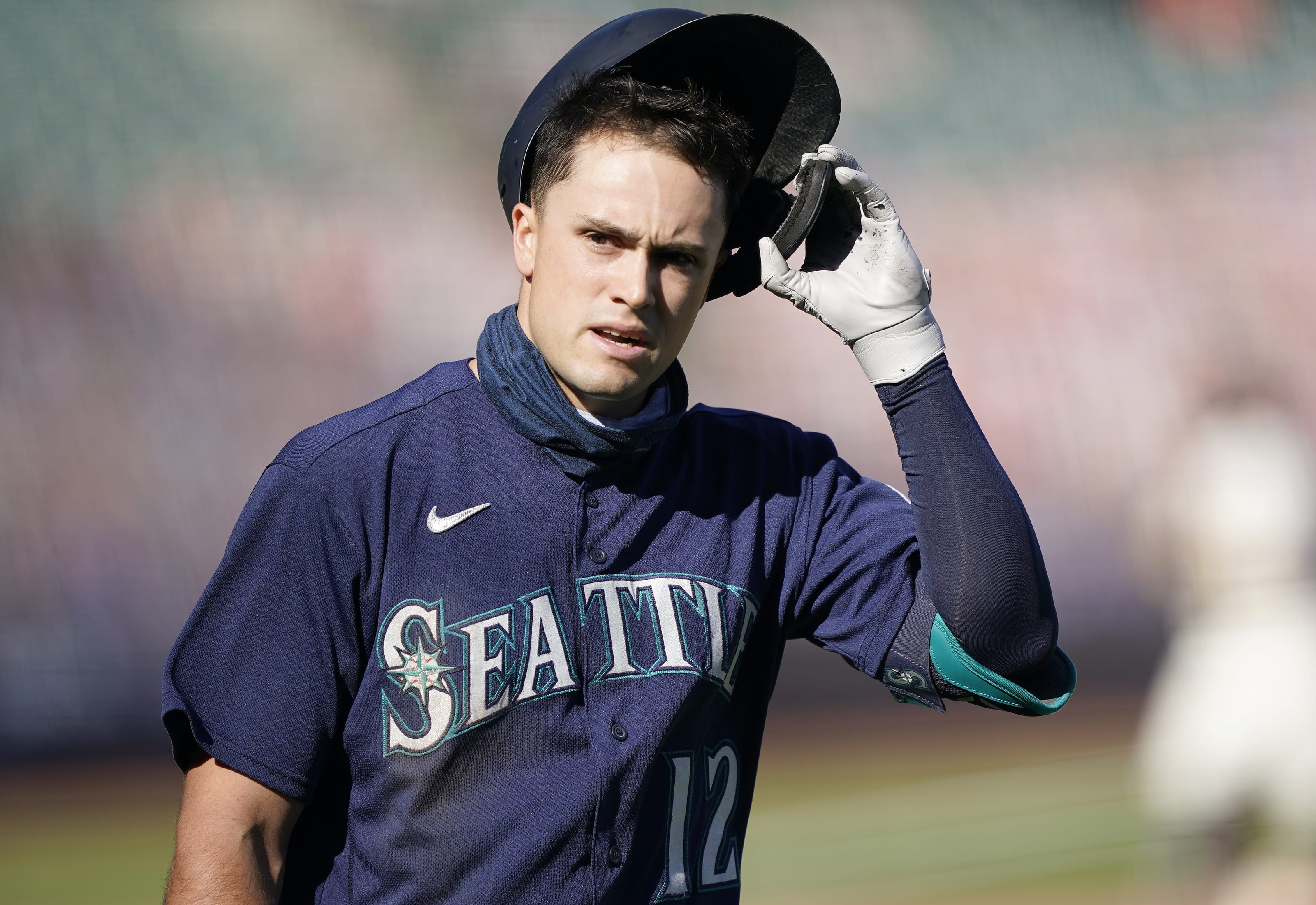 Evan White of the Seattle Mariners reacts.