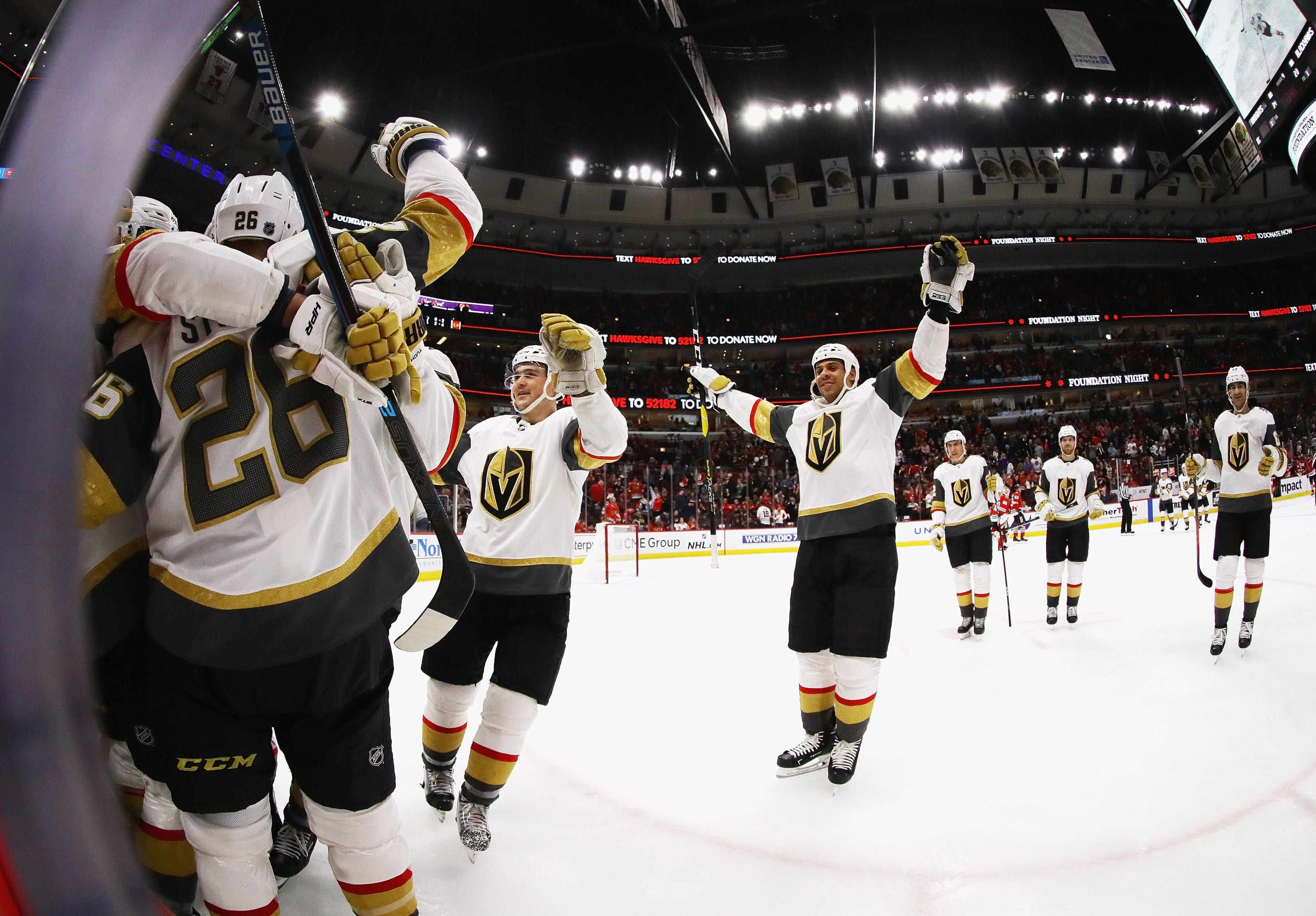 Members of the Vegas Golden Knights celebrate a win over the Chicago Blackhawks.
