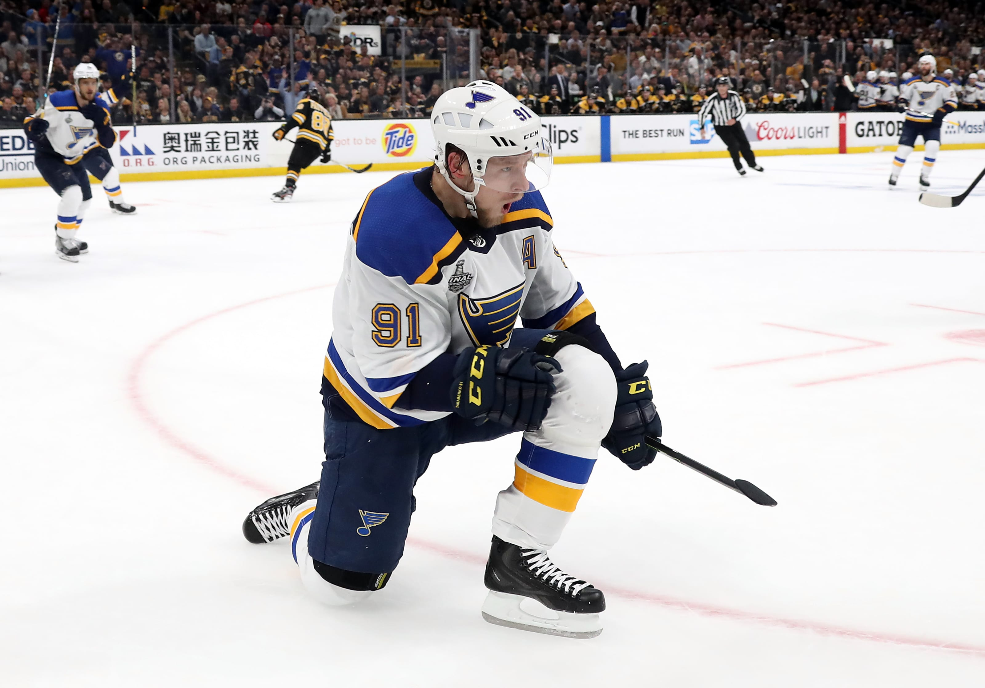 Vladimir Tarasenko #91 of the St. Louis Blues celebrates his first period goal against the Boston Bruins in Game Two of the 2019 NHL Stanley Cup Final.