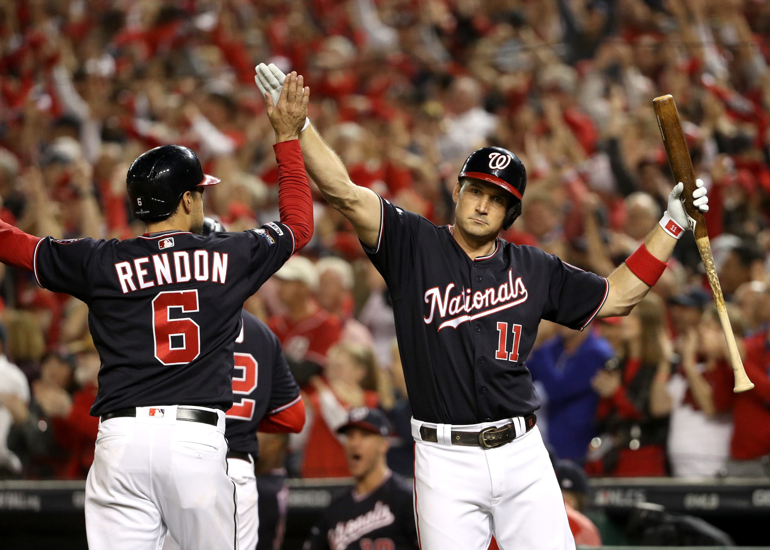 Washington Nationals' Ryan Zimmerman and Anthony Rendon celebrate.