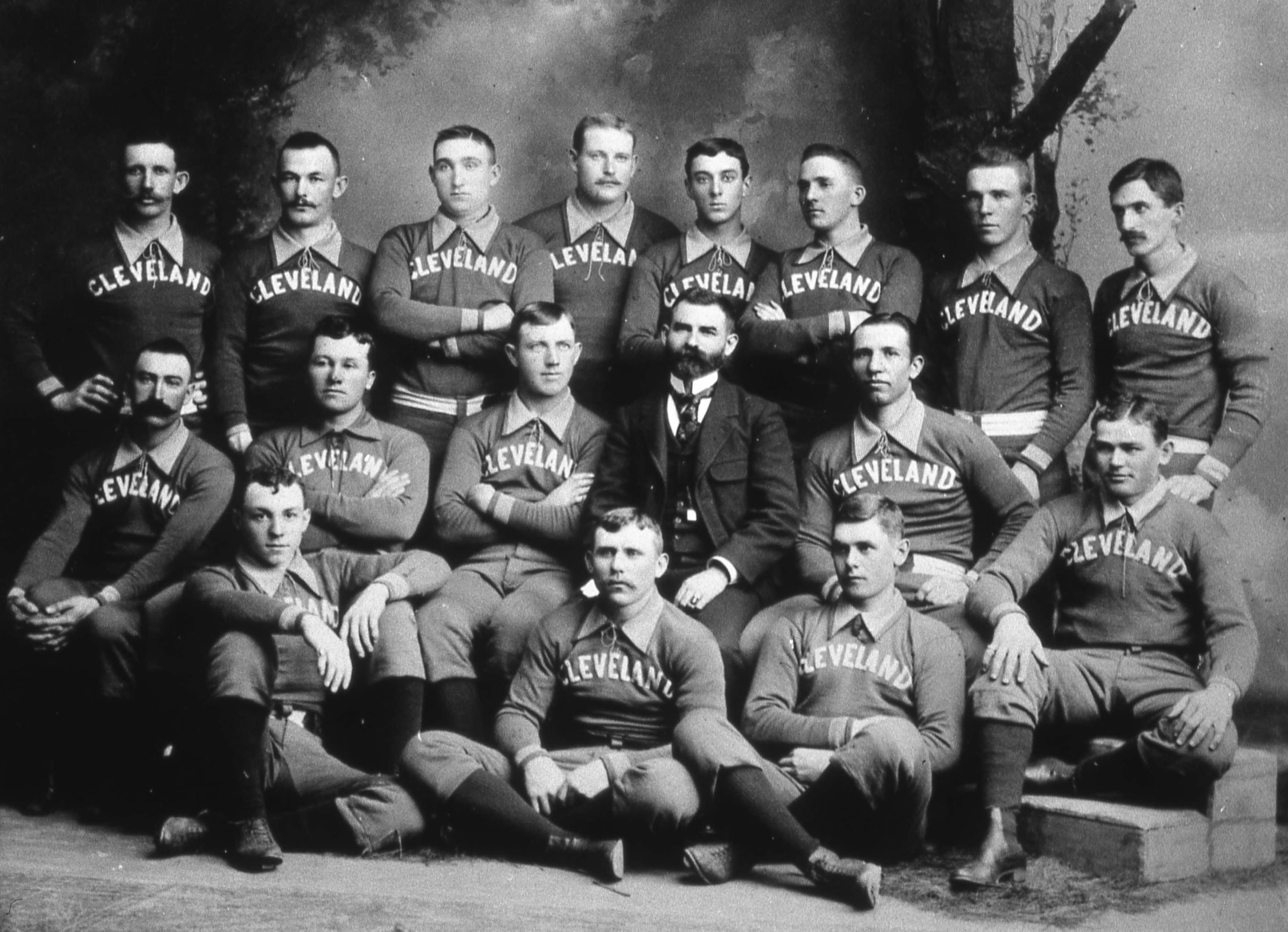 The Cleveland Spiders Base Ball Club poses for a team portrait in 1890. Cy Young is in the photo, middle row, third from left.