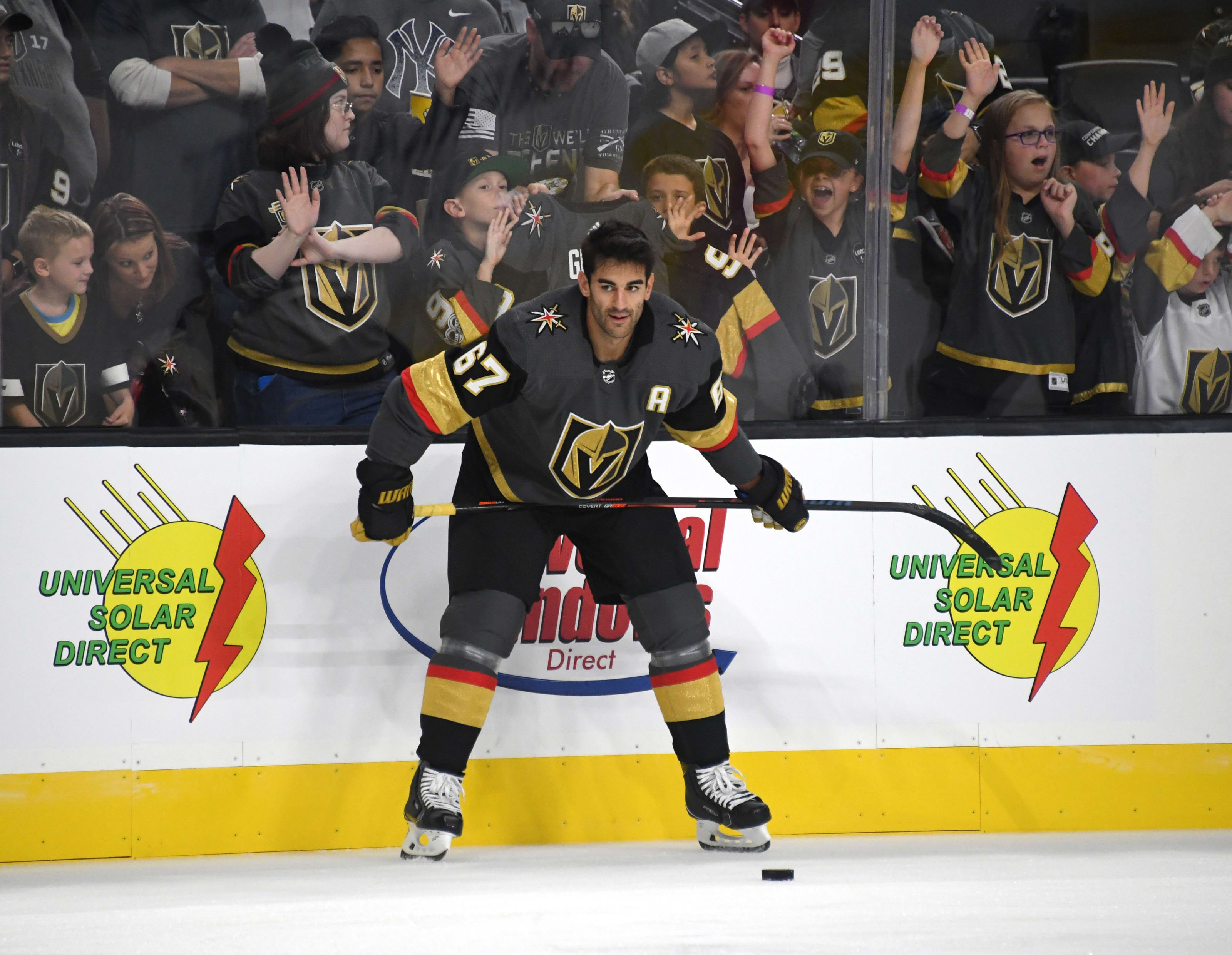 Max Pacioretty #67 of the Vegas Golden Knights stands on the ice during warmups.