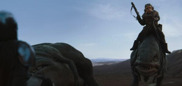 The Mandalorian (Pedro Pascal) and the Ugnaught Kuiil in the Disney+ series THE MANDALORIAN.