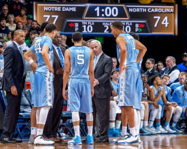 Feb 6, 2016; South Bend, IN, USA; North Carolina Tar Heels head coach Roy Williams talks to his players during a time out in the second half against the Notre Dame Fighting Irish at the Purcell Pavilion. Notre Dame won 80-76. Mandatory Credit: Matt Cashore-USA TODAY Sports