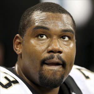 Sep 30, 2013; New Orleans, LA, USA; New Orleans Saints guard Jahri Evans (73) during their game against the Miami Dolphins at the Mercedes-Benz Superdome. Mandatory Credit: Chuck Cook-USA TODAY Sports