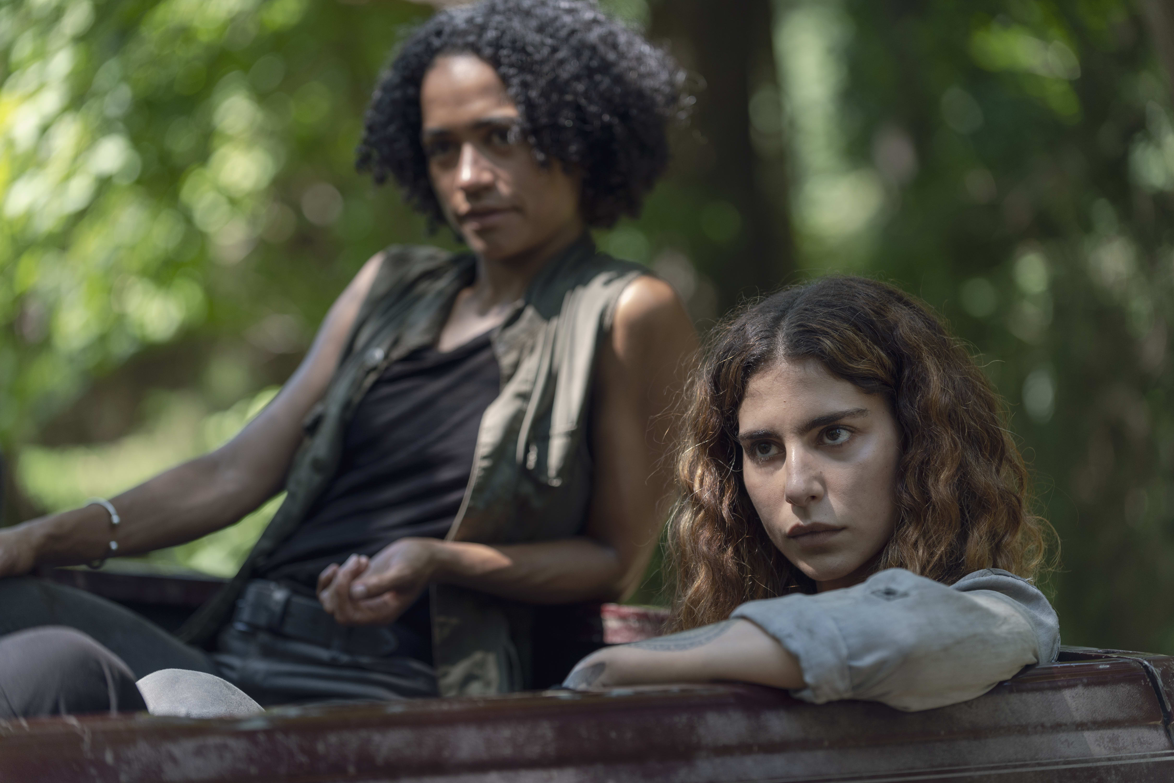 Lauren Ridloff as Connie, Nadia Hilker as Magna - The Walking Dead _ Season 9, Episode 7 - Photo Credit: Gene Page/AMC