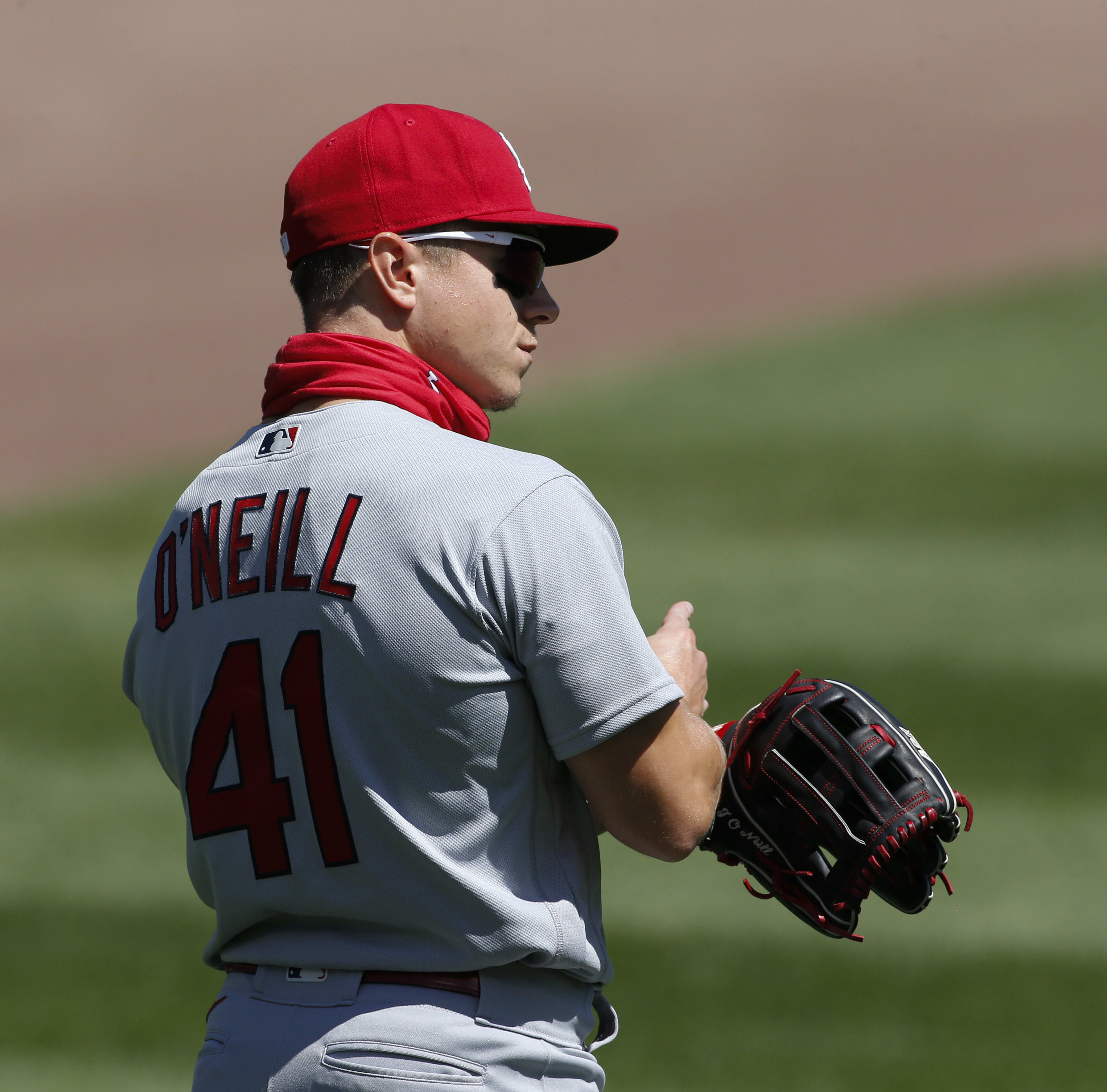 Tyler O'Neill, former Mariners prospect, of the St. Louis Cardinals waits during a game.
