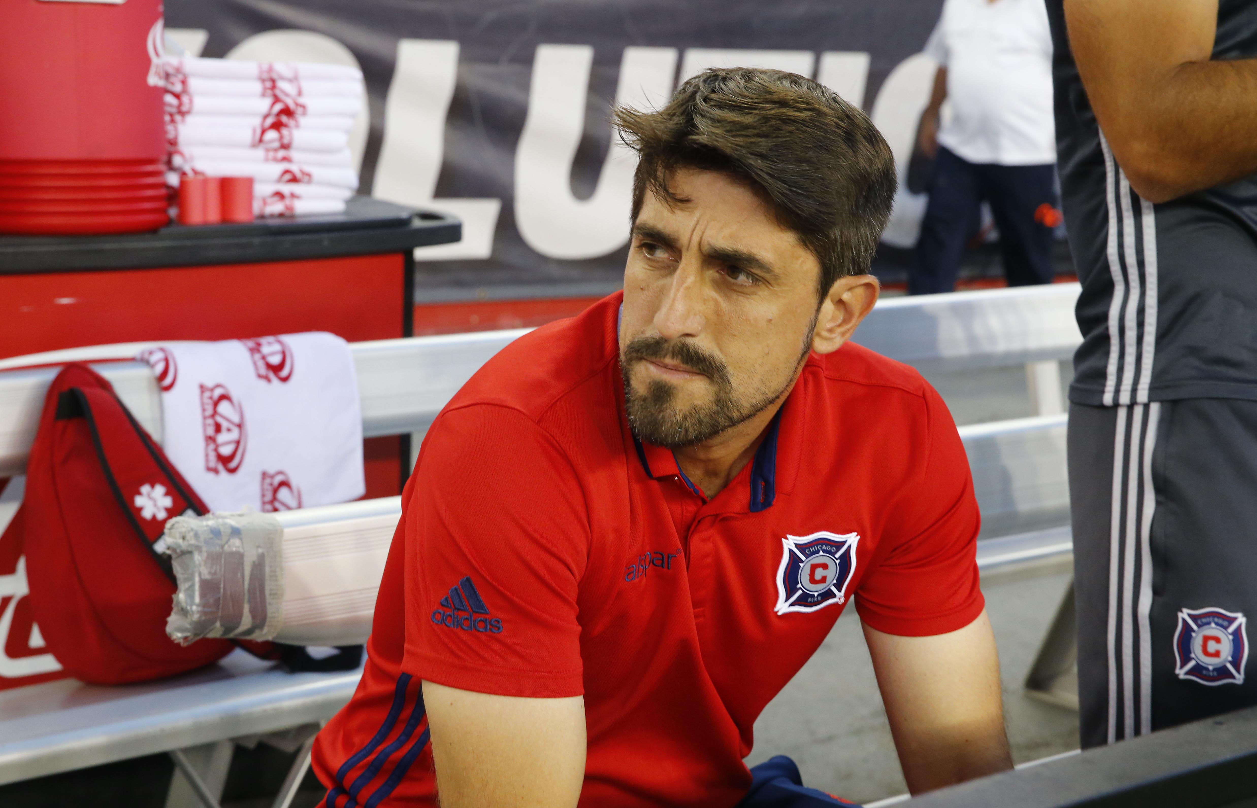 Jul 23, 2016; Foxborough, MA, USA; Chicago Fire head coach Veljko Paunovic looks on before their game against the New England Revolution at Gillette Stadium. Mandatory Credit: Winslow Townson-USA TODAY Sports