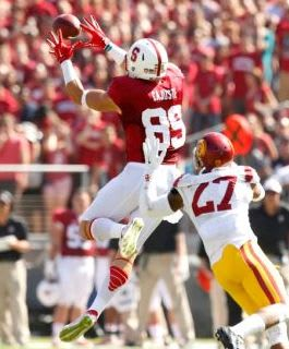Stanford Cardinal wide receiver Devon Cajuste (89) makes a catch next to USC Trojans safety Gerald Bowman (27). Cary Edmondson-USA TODAY Sports