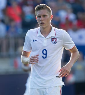 Jul 25, 2015; Chester, PA, USA; United States forward Aron Johannsson (9) during the CONCACAF Gold Cup third place match against Panama at PPL Park. Panama wins on penalty kicks after a 1-1 draw. Mandatory Credit: Bill Streicher-USA TODAY Sports