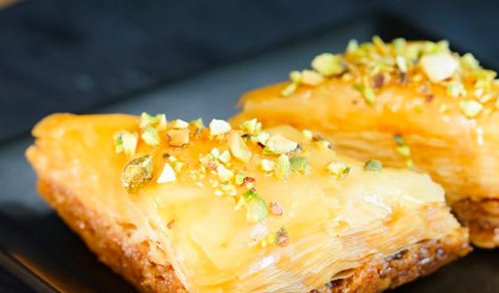 Baklava is a festive treat served in the park